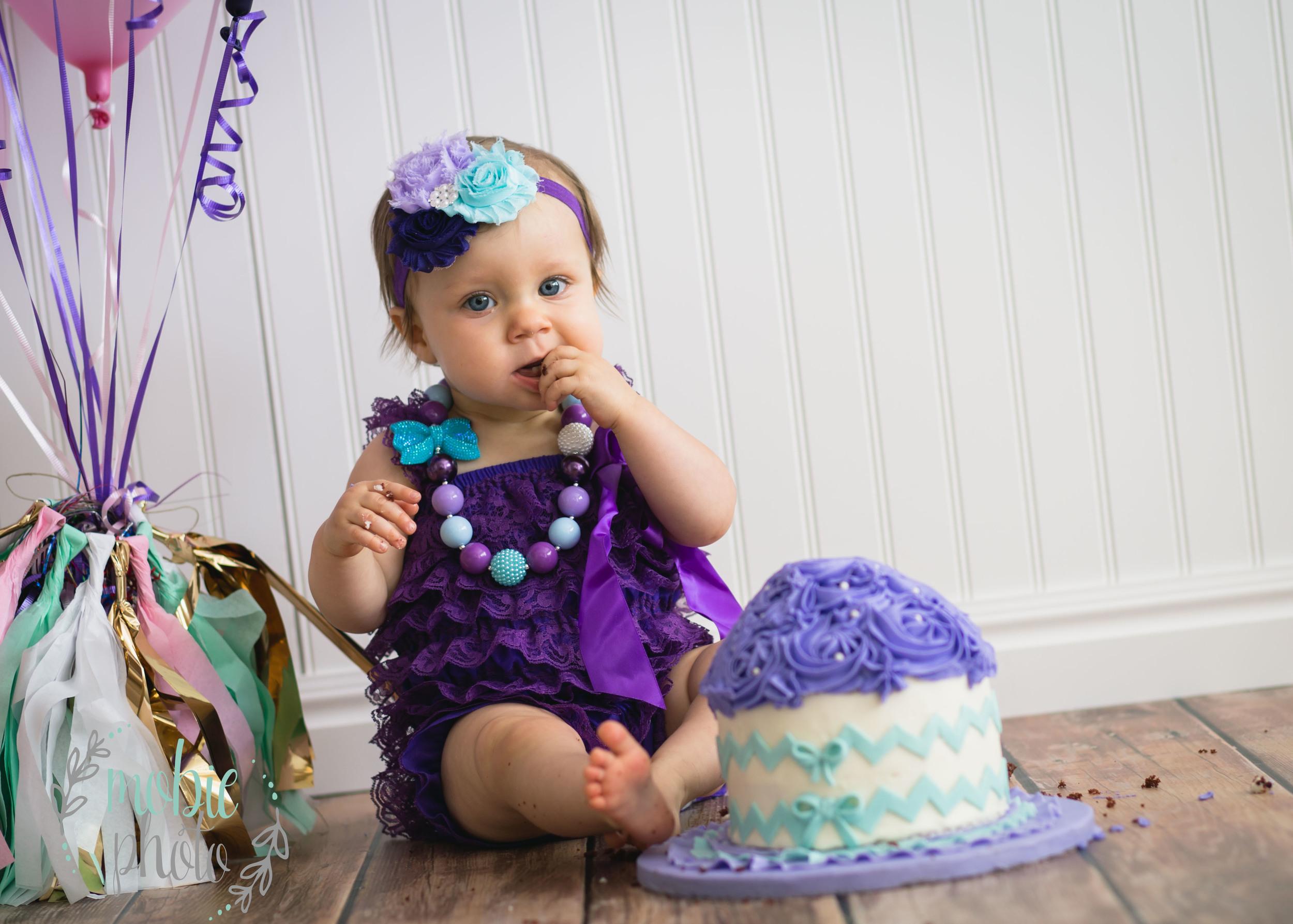 Mobie Photo - First Birthday Cake Smash - Lehi, Utah