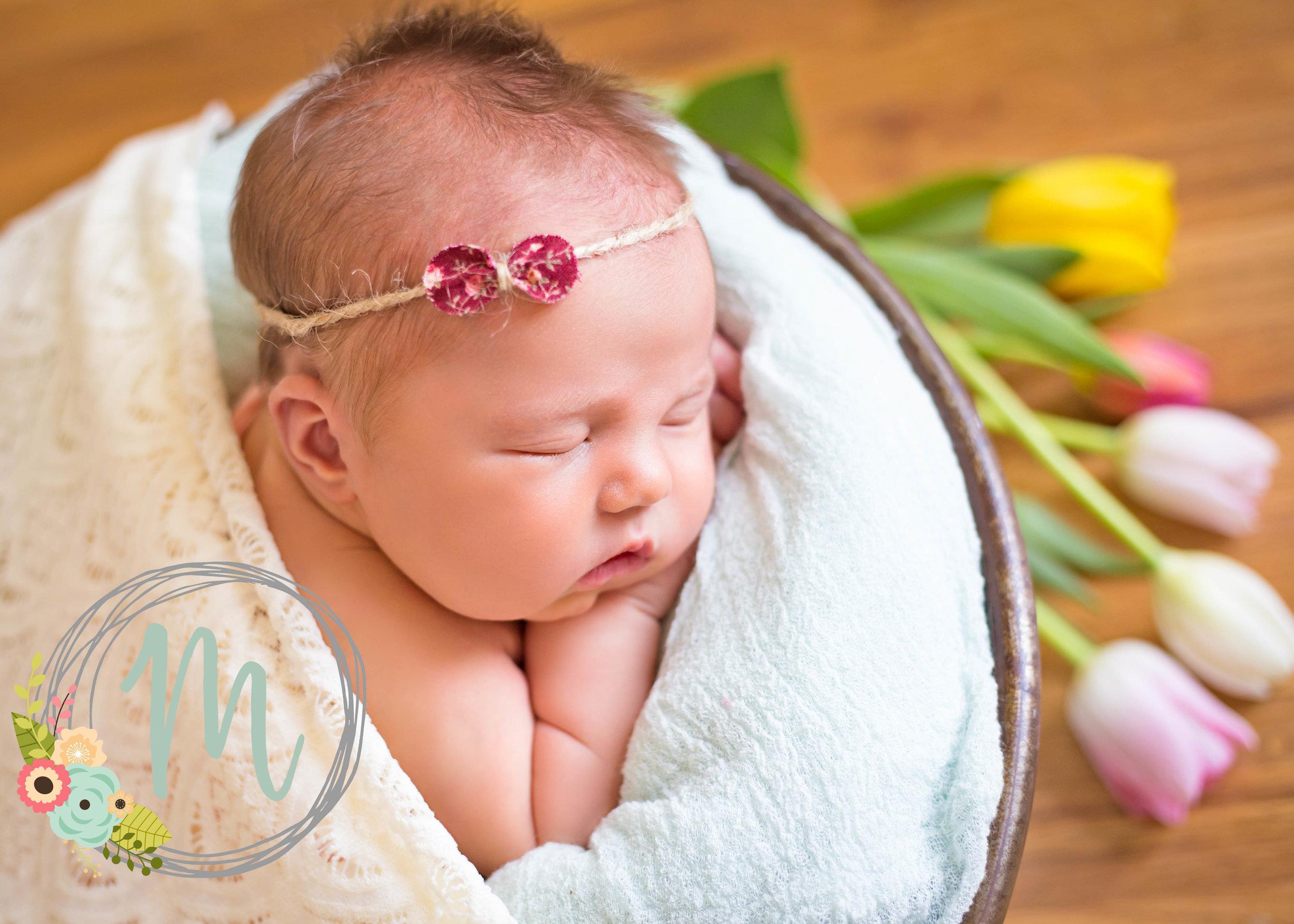 Utah Newborn Photographer - Baby girl pose with tulips