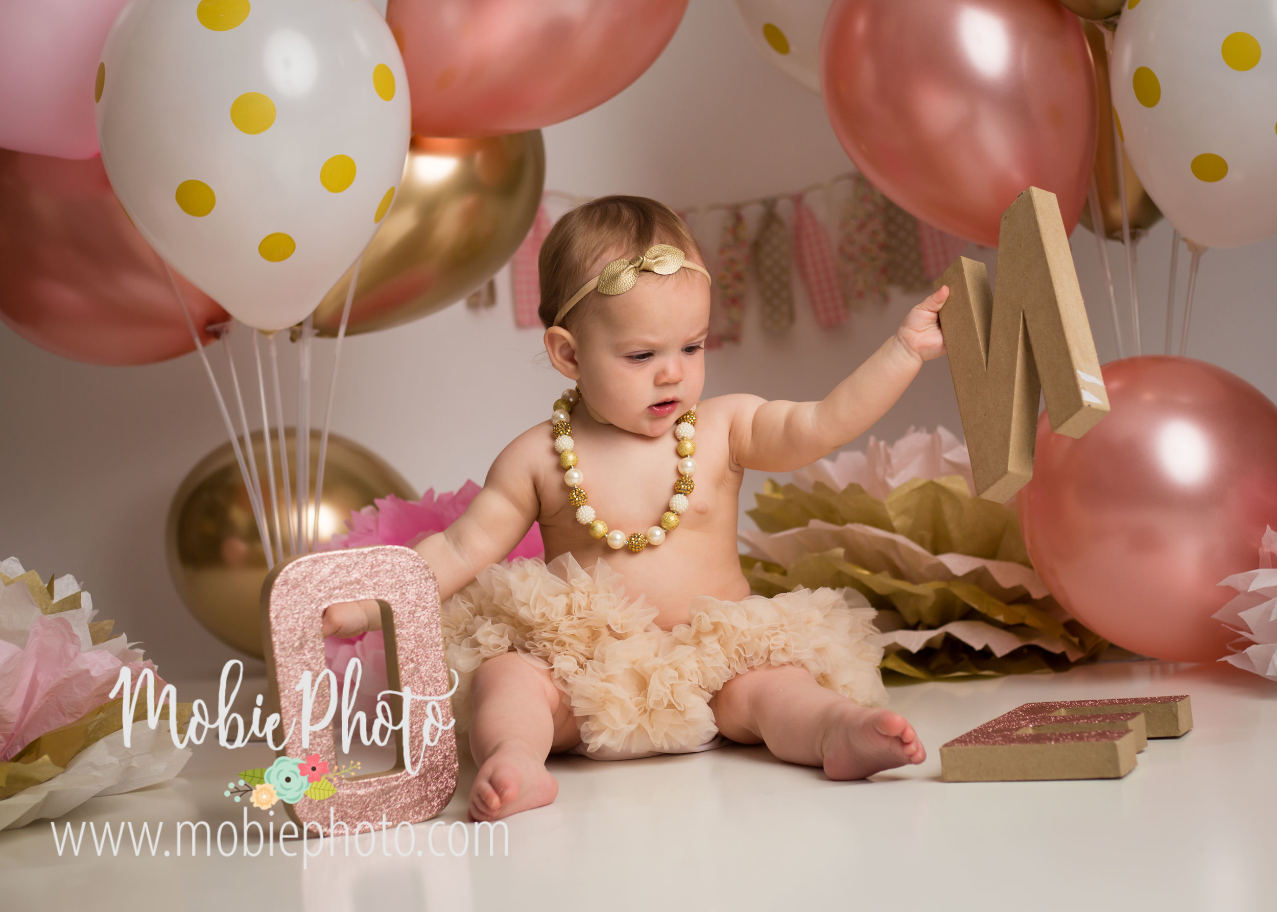 Pink and Gold Birthday Cake Smash Pictures - Utah Baby Photographer