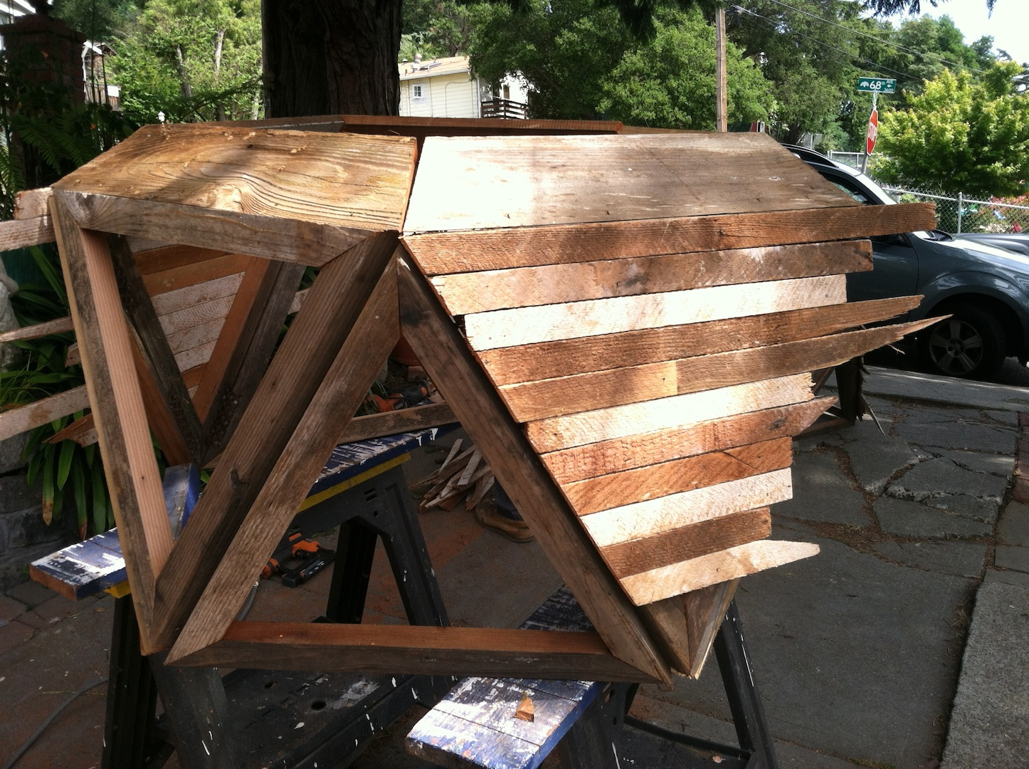 Beginning of the Ombre planter with woos lath generously donated by Howard of Renovate SF. Thank you Howard.