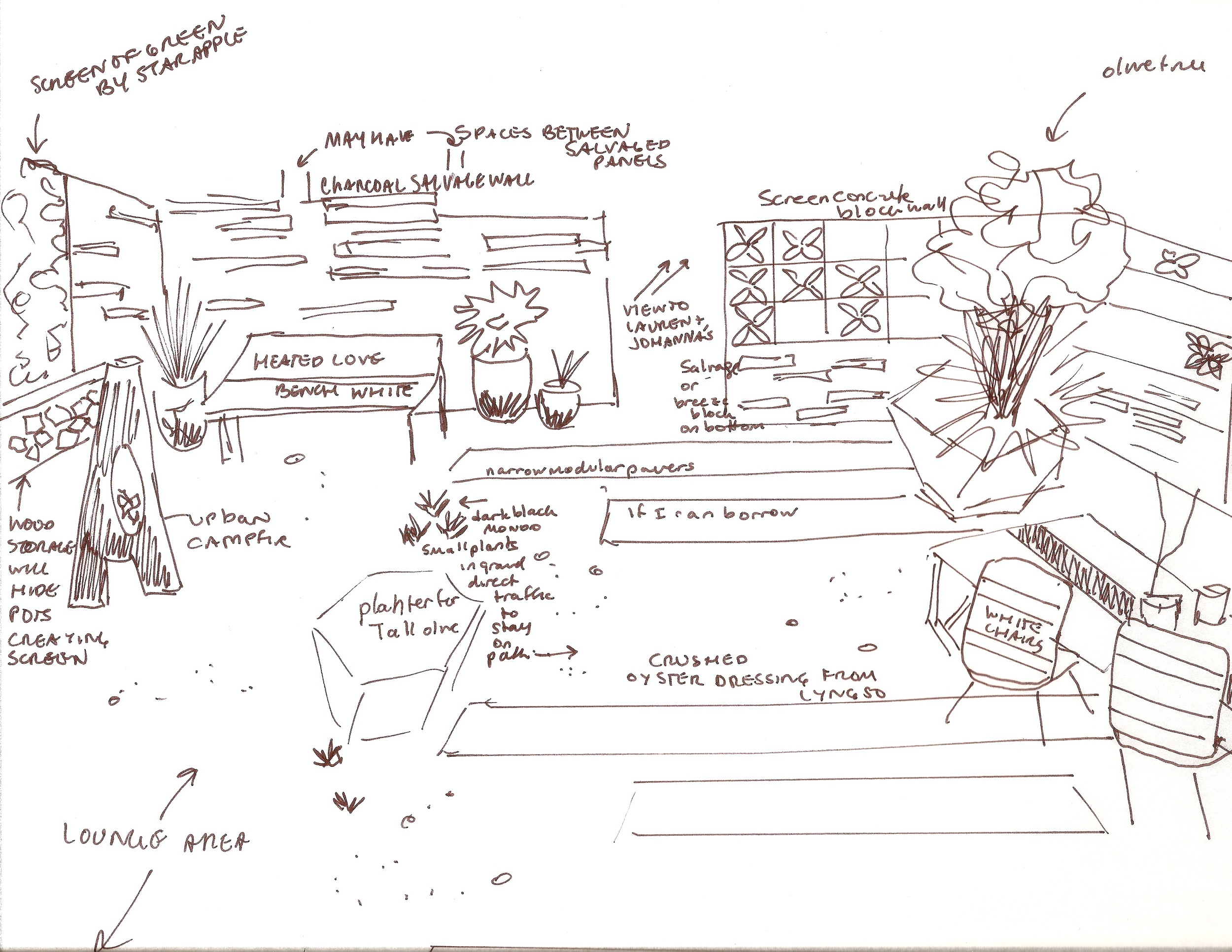 Concept drawing for the garden- see how it changed a tiny bit as the idea grew and came together.