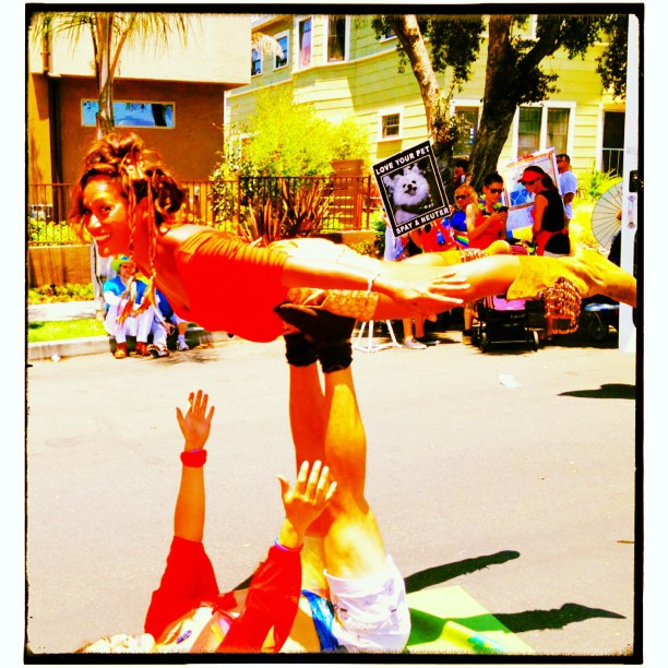 Flyin' with San Diego Acroyoga at Pride Parade!