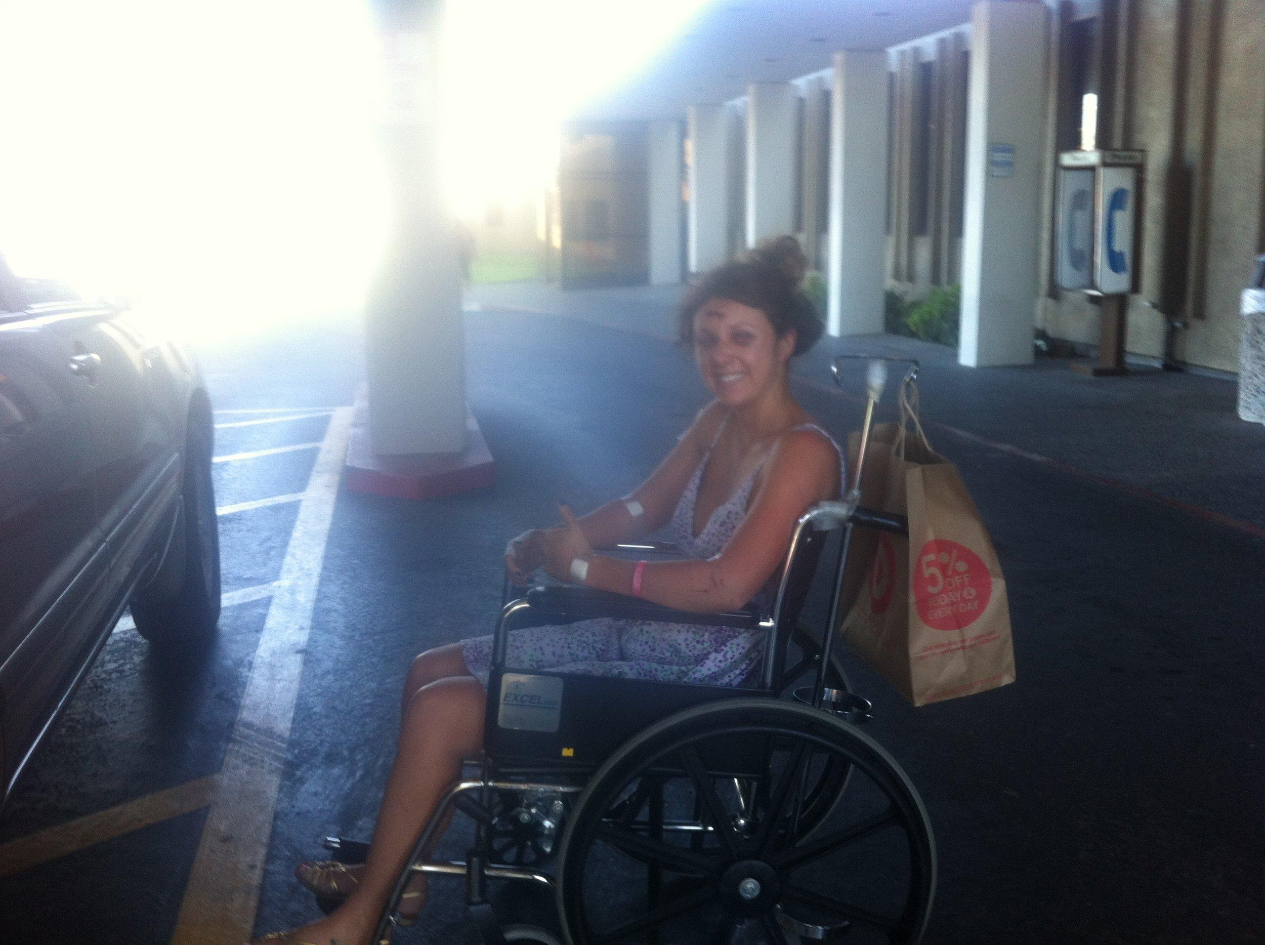 Finally leaving the hospital