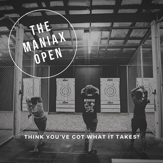 TIME IS RUNNING OUT TO REGISTER FOR THIS SUNDAY'S MANIAX OPEN, BRISBANE! . .  MANIAX Brisbane has been hand-selected by the International Axe Throwing Federation (IATF) to host this years Pacific Regionals and to celebrate we are holding our own No-Axperience-Necessary tournament before the real one kicks off.  At only $20 to enter and with prizes to be won this is an event you don't want to miss this Queens Birthday long weekend. ⛏⛏⛏⛏⛏⛏