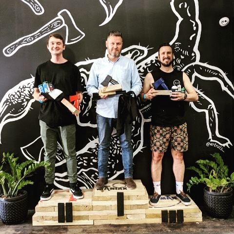 Winners of 'The Maniax Open' tournament held this morning at Maniax Brisbane. We saw some class throwing today and are very hopeful to have some new league members joining the Maniax Family soon. Congratulations Chris🥇Bill 🥈and Gavin 🥉