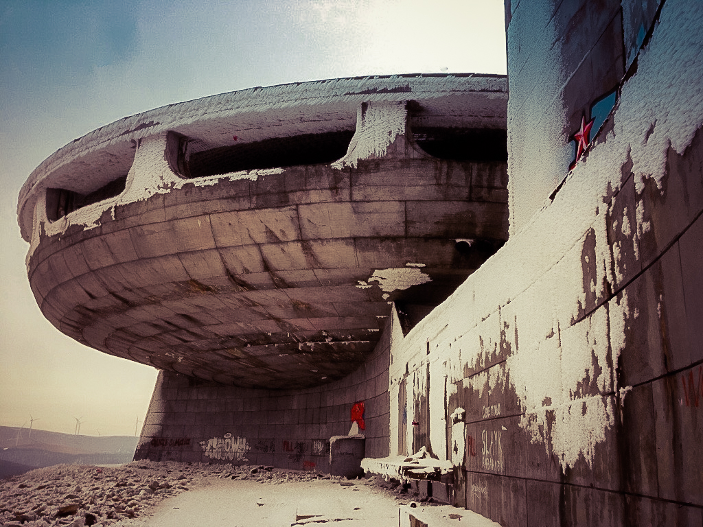 We tried and tried, but we couldn't get inside.... The long-abandoned House-Monument of the Communist Party, Buzludzha, Bulgaria.