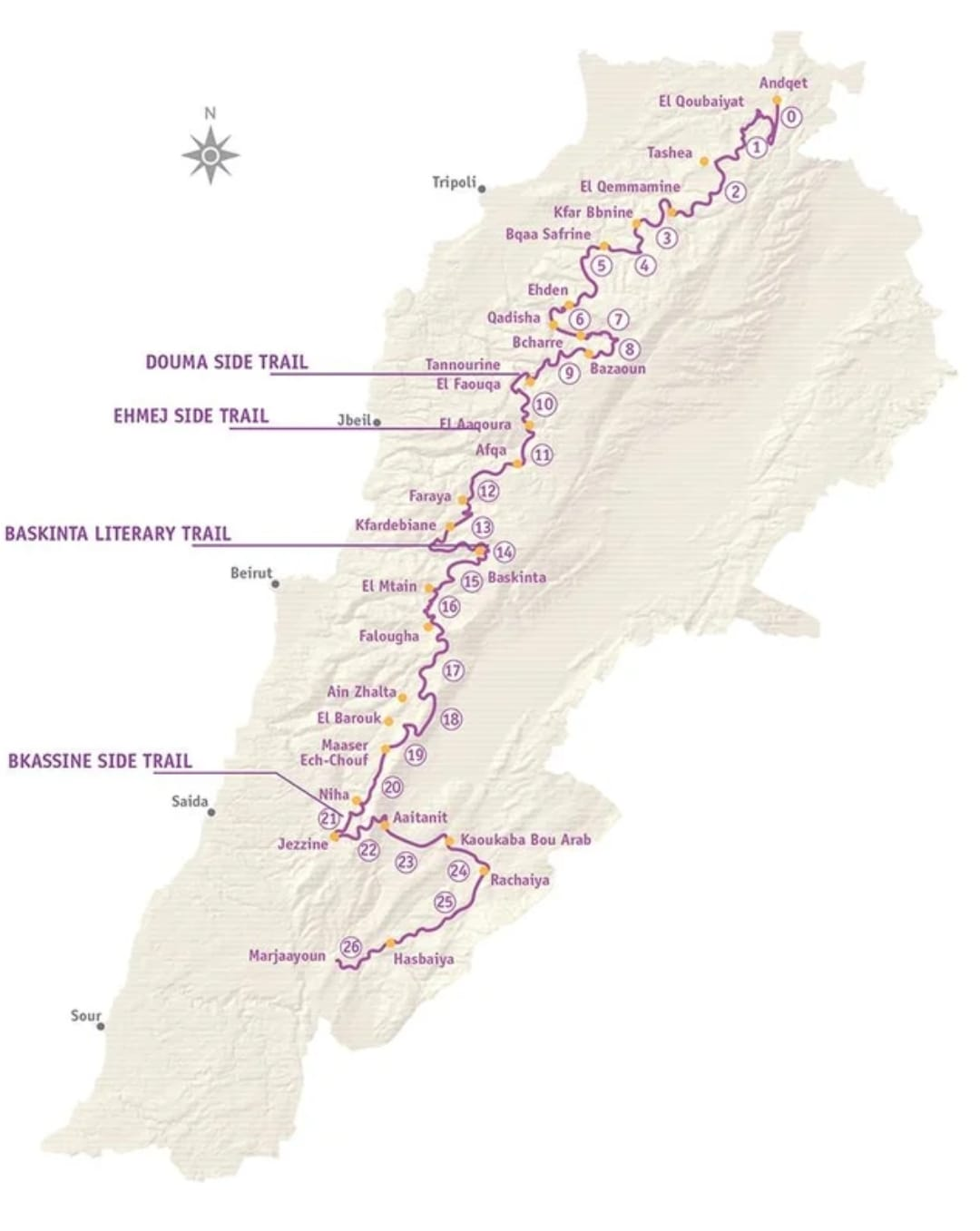 The 470km-long Lebanon Mountain Trail in sections.  Image © Lebanon Mountain Trail Association