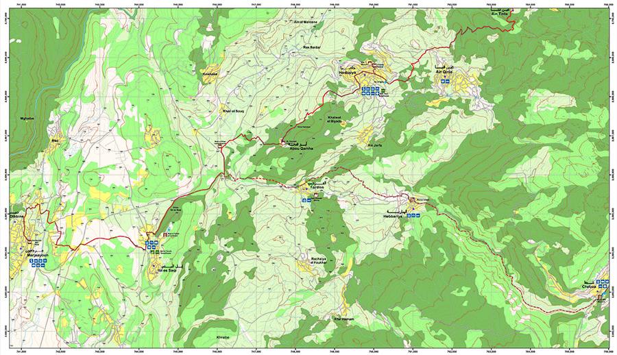 Marjayoun to Hasbaya   LMT Section 26  Image/Map © Lebanon Mountain Trail Association