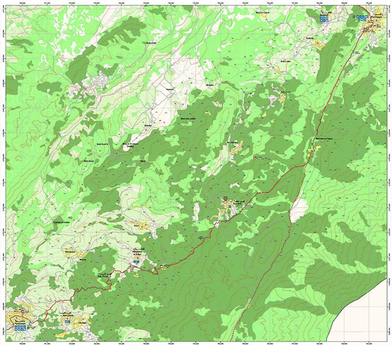 Hasbaya to Rashaya   LMT Section 25  Image/Map © Lebanon Mountain Trail Association