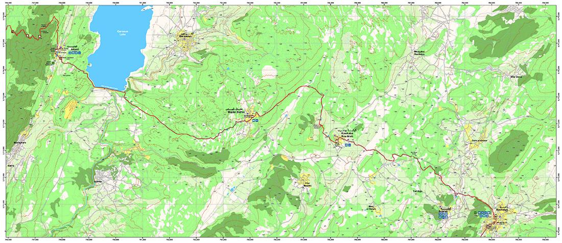 Rashaya to Kawkaba   LMT Section 24  Image/Map © Lebanon Mountain Trail Association