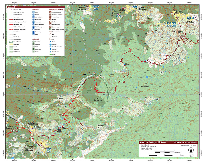 Tannourine to Bazaoun  Section 9 of the LMT.  Map/Image © Lebanon Mountain Trail Association