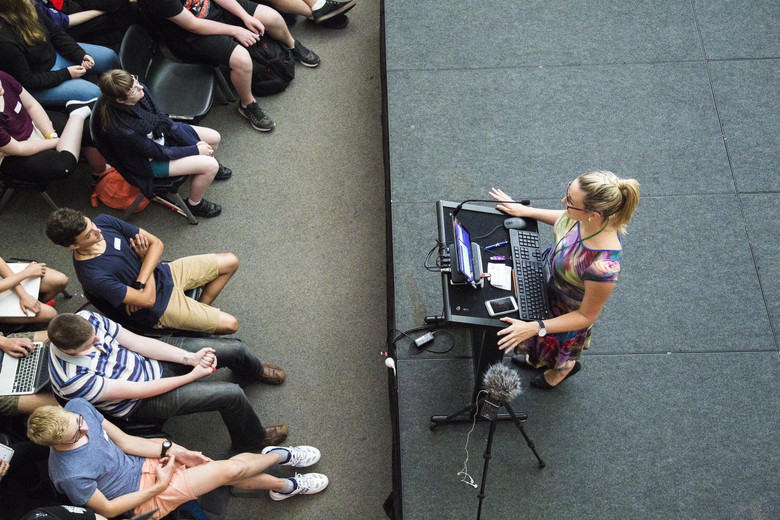 Helen delivering an educational keynote