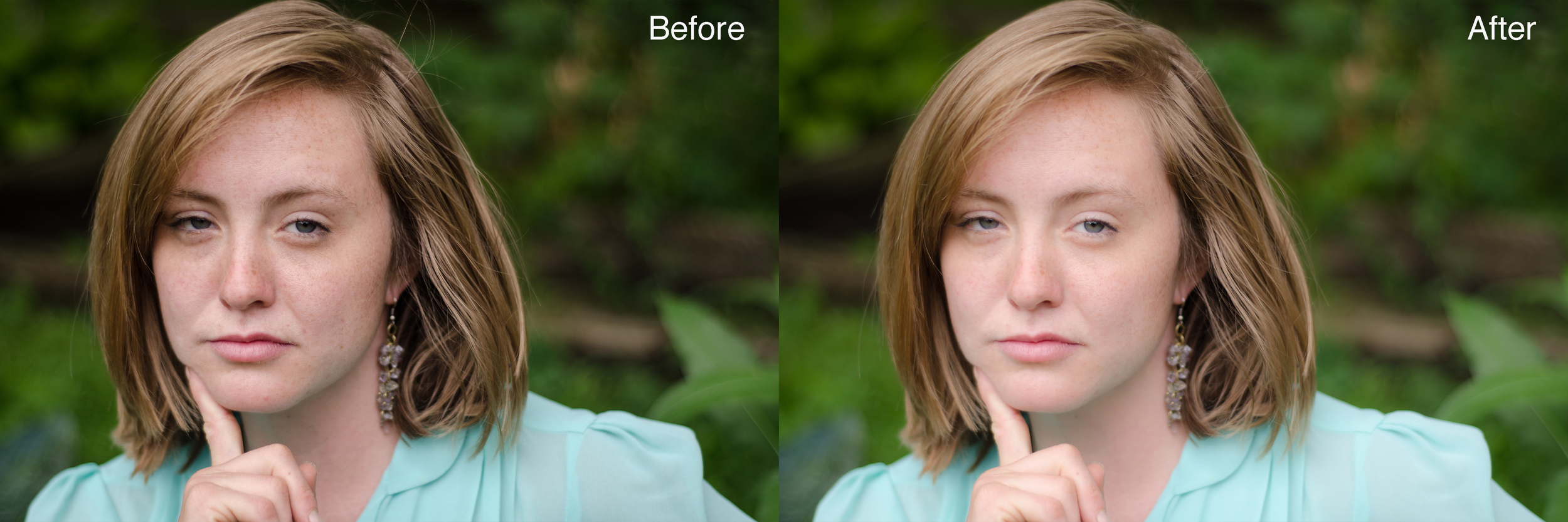 Image on Left: Overall Darker, conveying shadows along on the subjects face, skin blemishs, and low contrasting tones.    Image on Right: Face is brighter, tones are richer, skin is smoother.