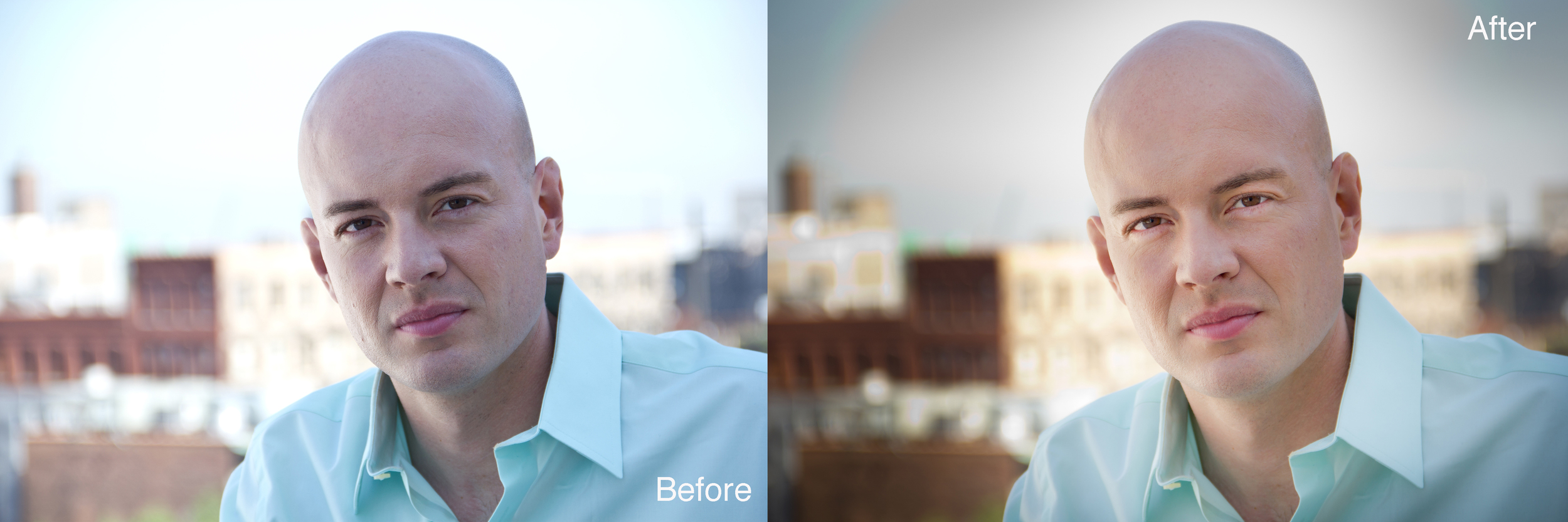 Image on the Left: Very blue, creating unnatural skin tones. Artistically, playing with white balance can be a style choice, but in the case of head shots, you want to personify someones real skin tones.    Image on the Right: Color corrected. The skin tones are natural and warm. The eyes are brighter and more engaging. Textures are more prominent.