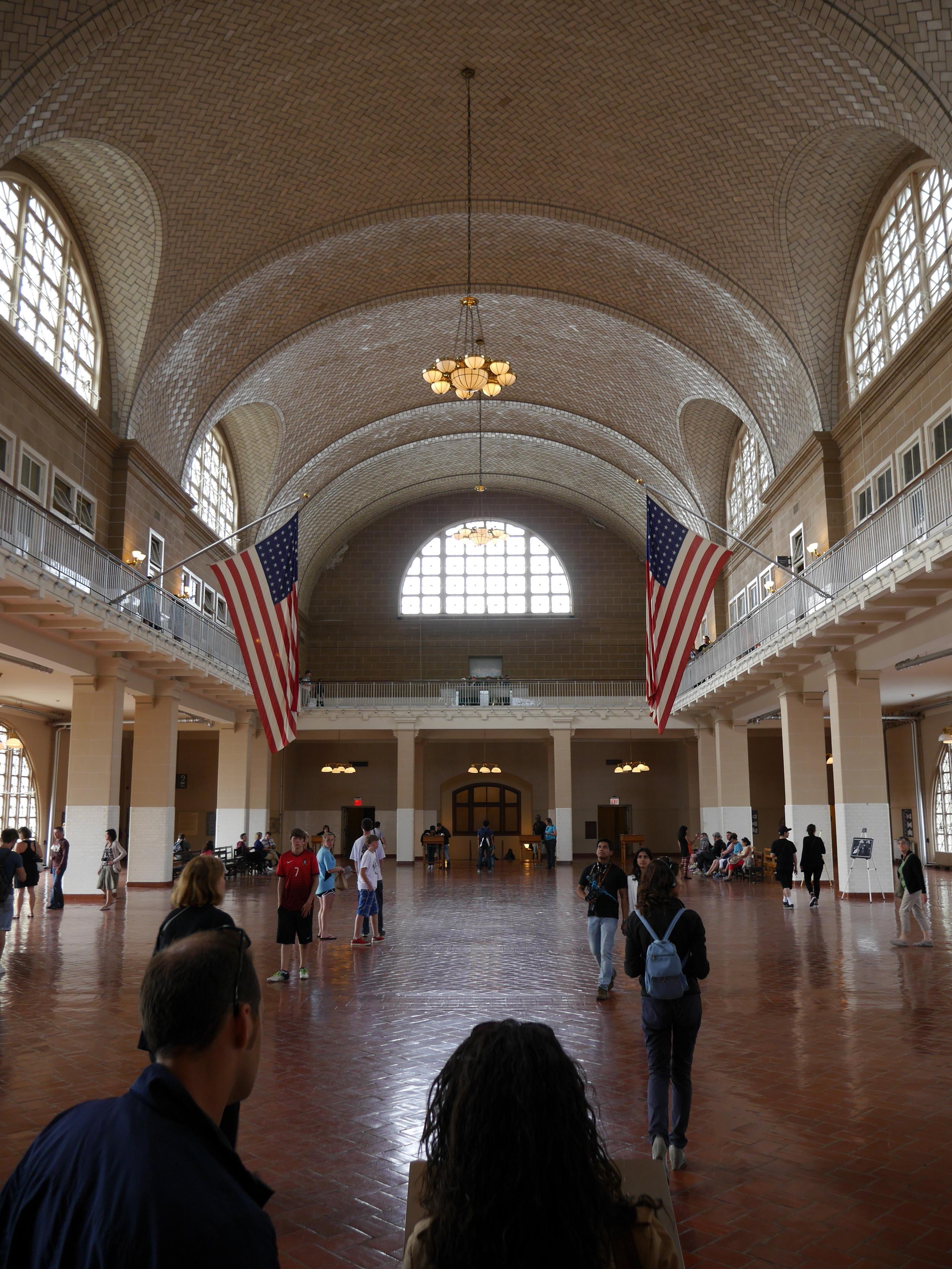 Ellis Island registry room.