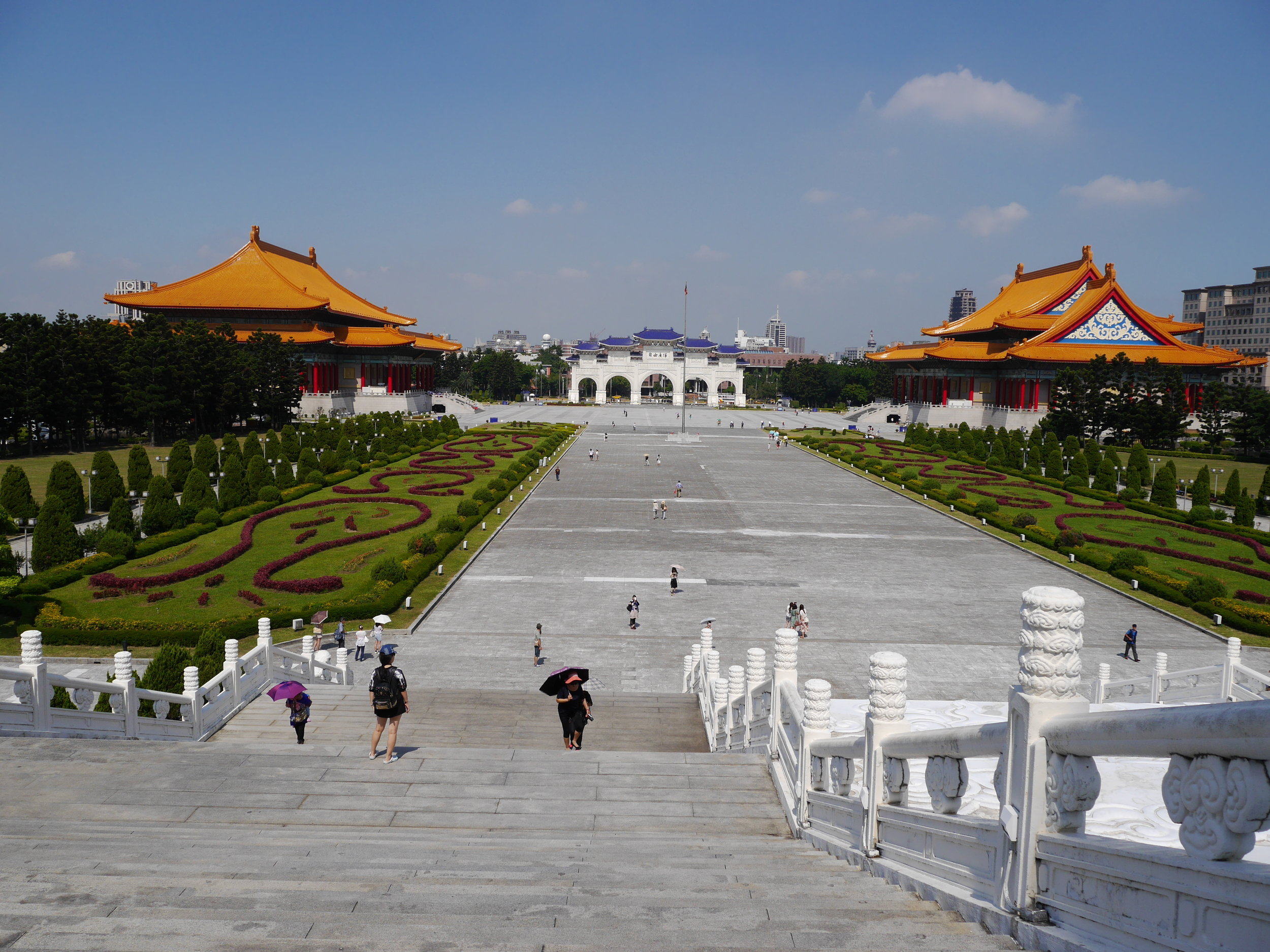 The National Theater (left), main gate, and National Concert Hall (right). Beautiful landscaping in the foreground.