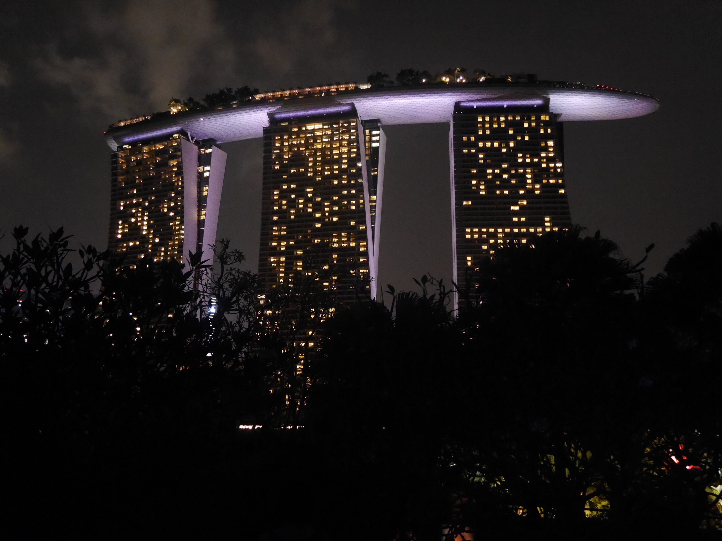 The Marina Bay Sands Hotel at night, from the gardens.