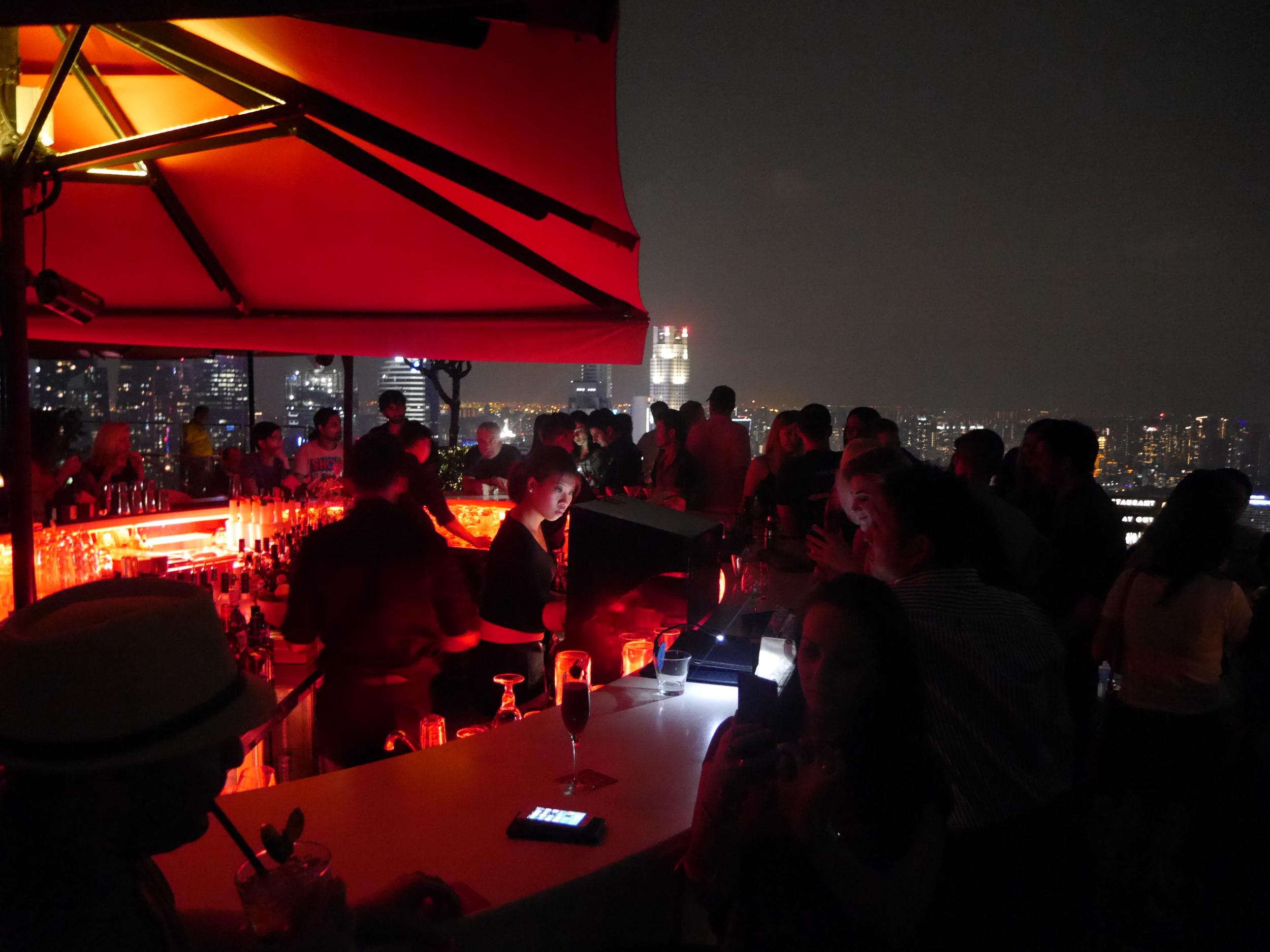 The bar itself. Pretty crowded.