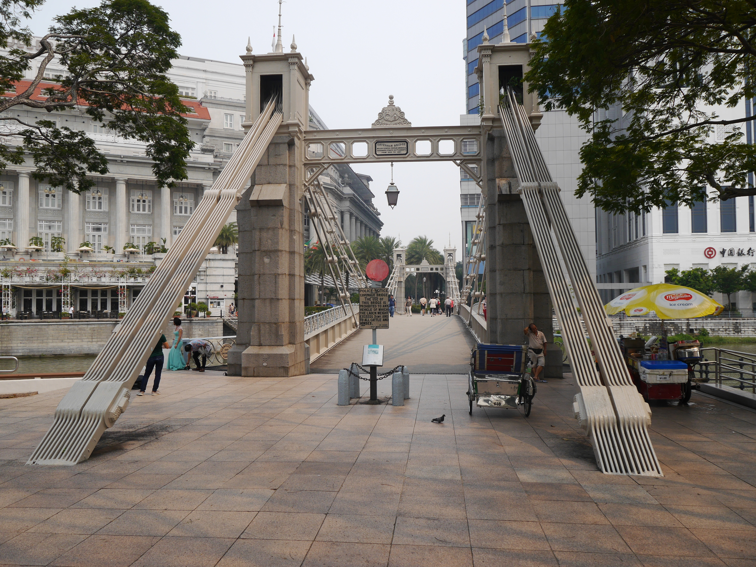The Cavenagh Bridge (pretty sure that's not a local name). Also another glamor shoot going on to the left.