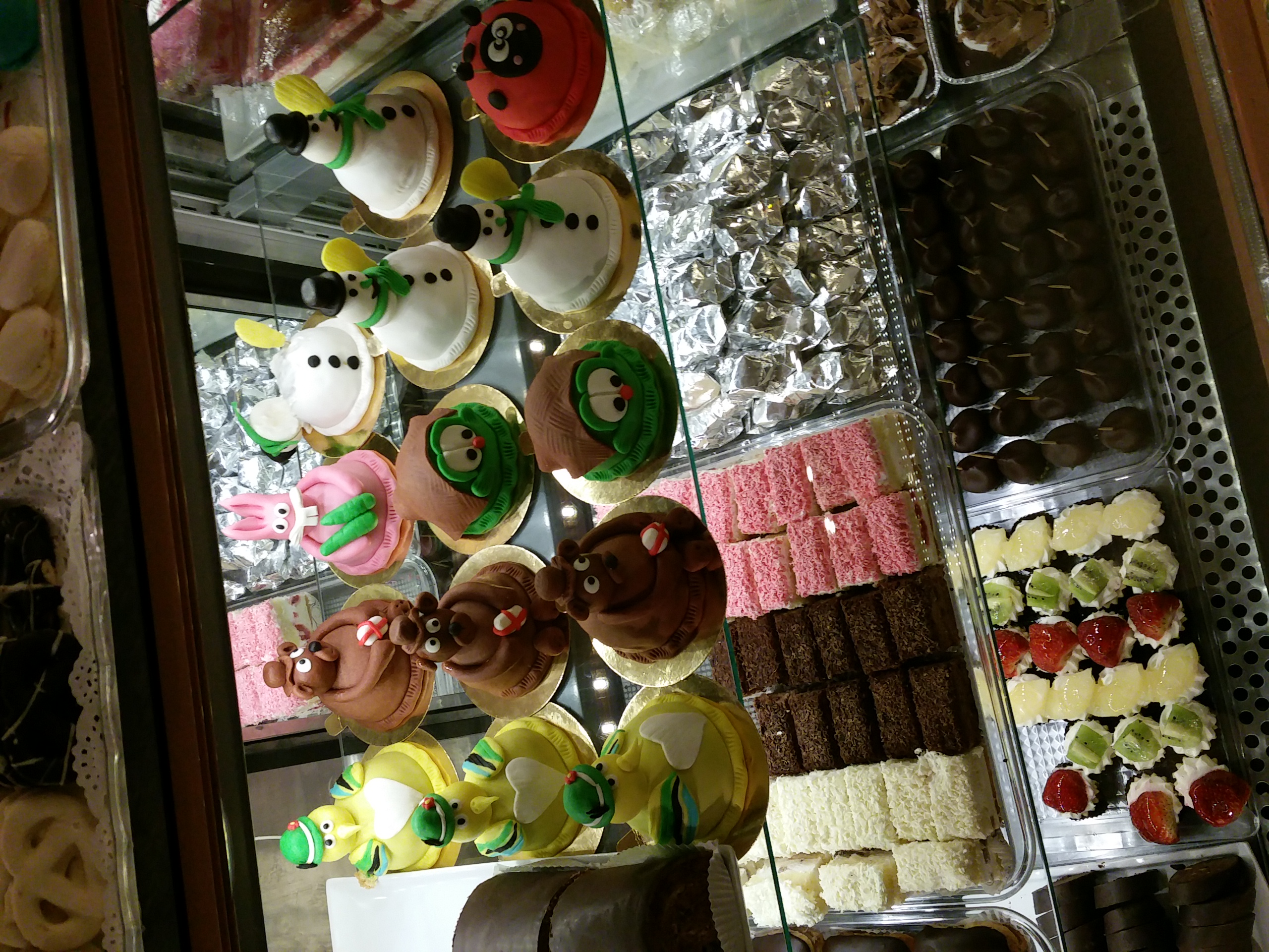 Fancy pastries at a bakery near our apartment.