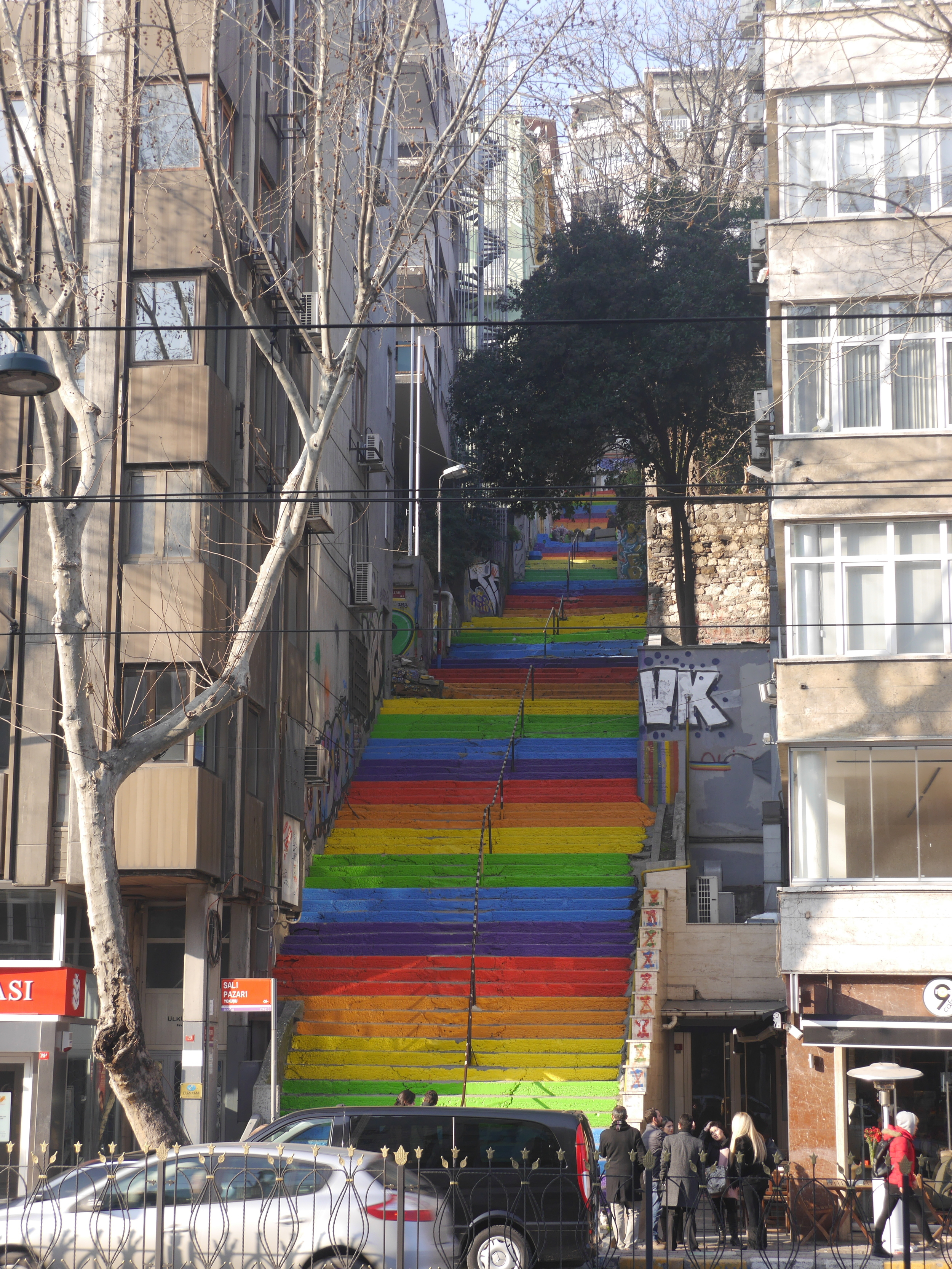 Super cool rainbow stairs.