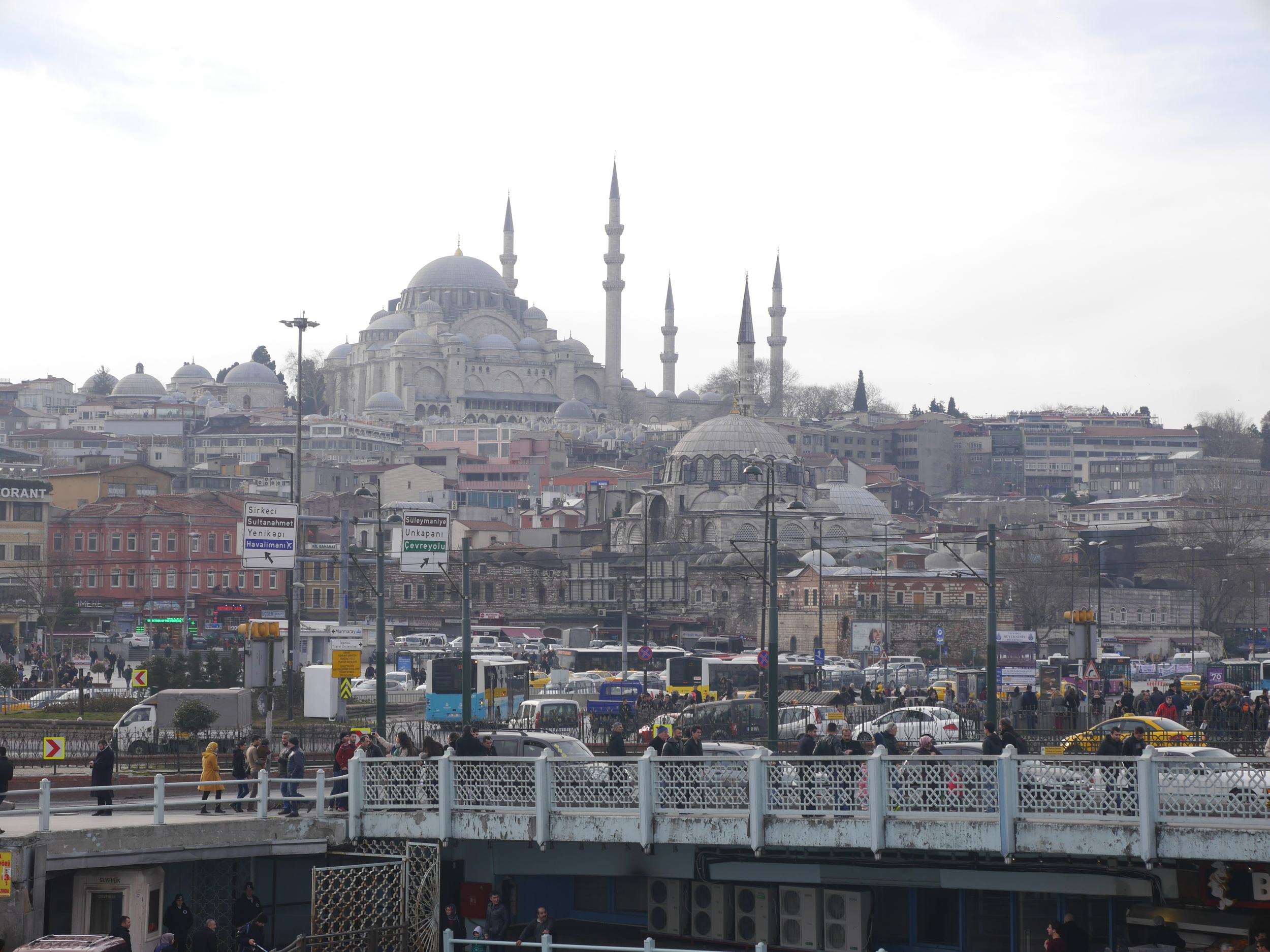 The  Suleymaniye Mosque  sitting atop a hill.