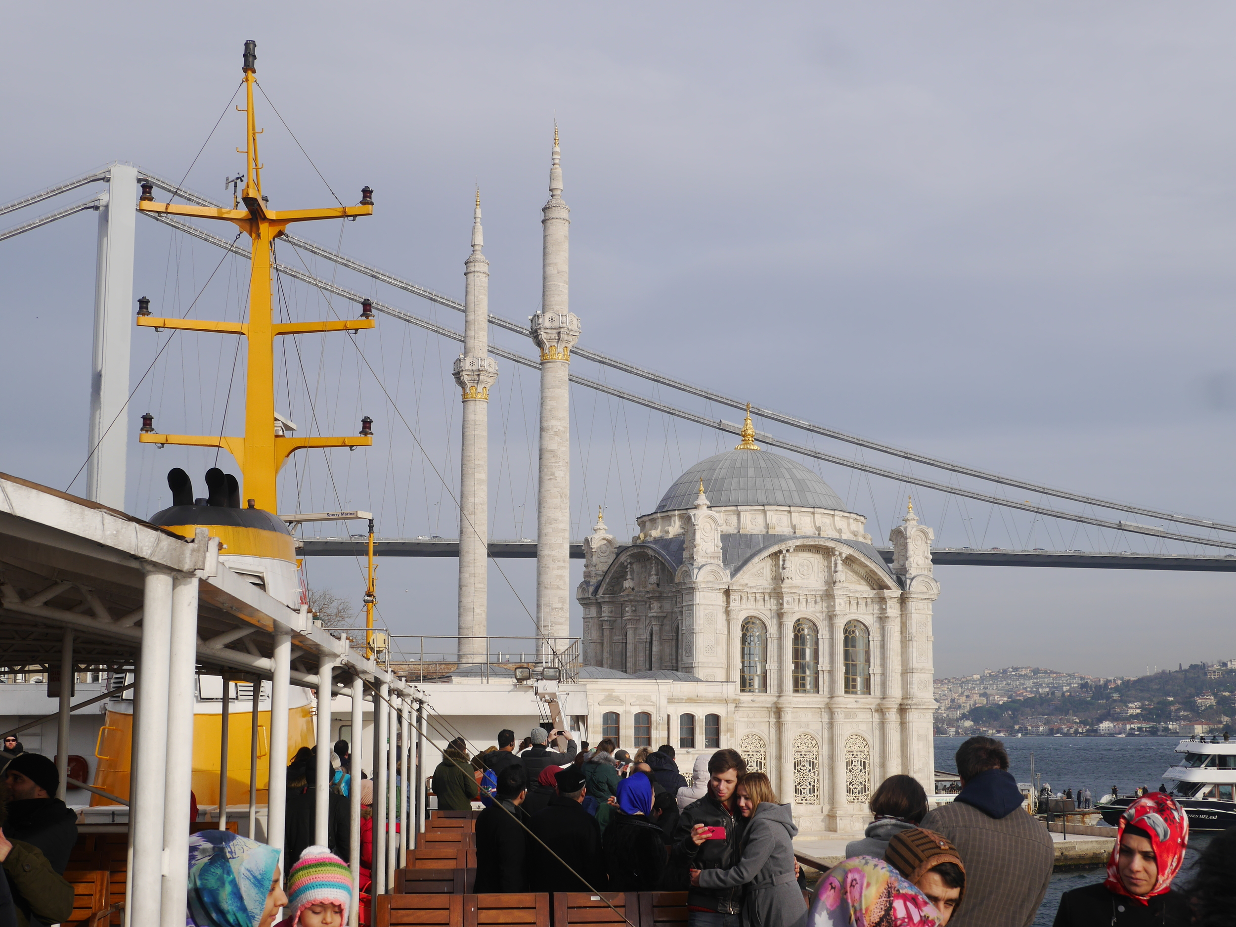 Our fellow tour participants, the  Ortakoy Mosque , and the  Bosphorus Bridge .