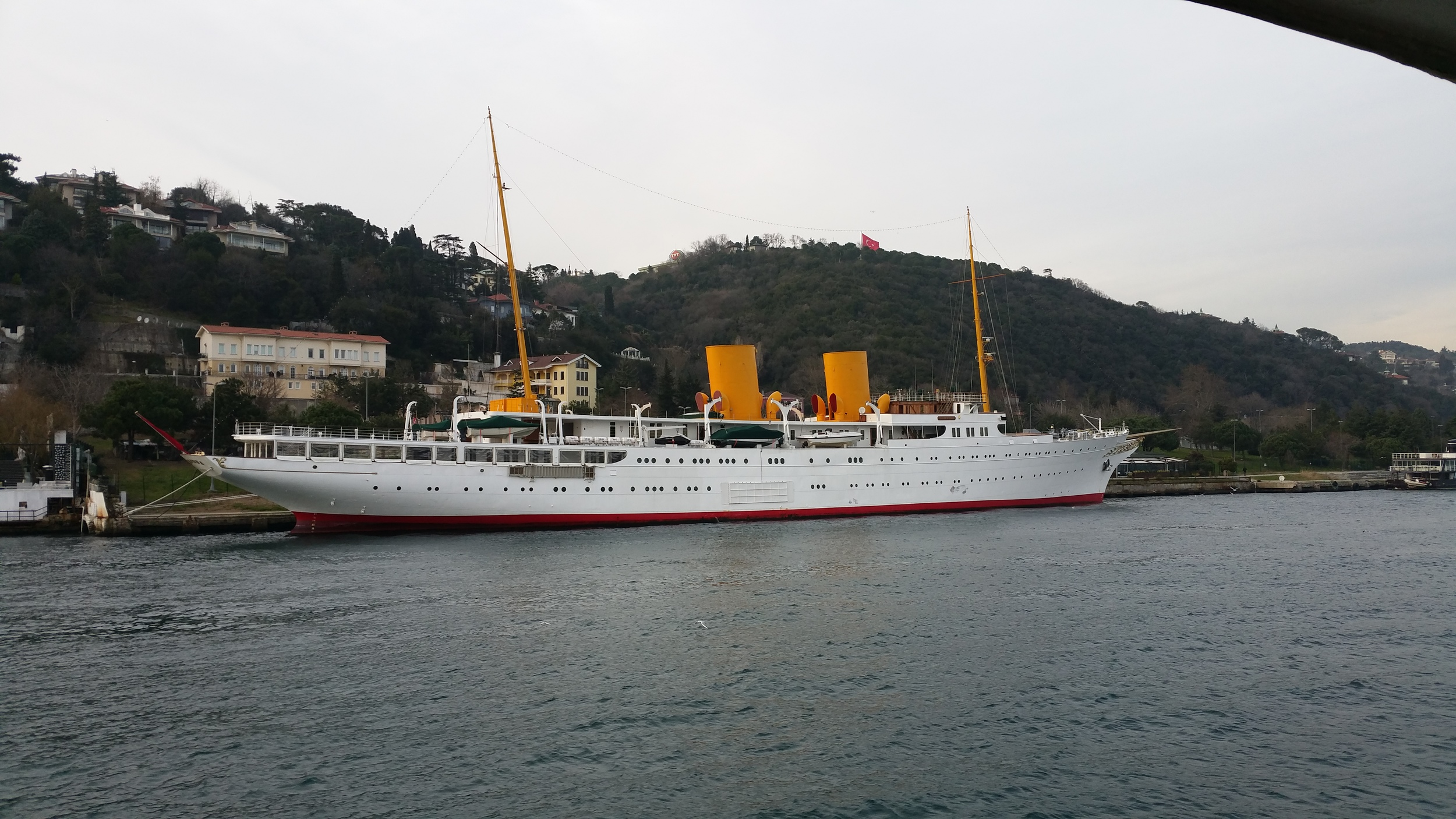The  MV Savarona . I just thought she was pretty, but apparently she also has quite the interesting history, being built in 1931 for an American heiress and eventually being transferred to the State of Turkey, almost destroyed in a fire, and rebuilt. Now exclusivley used by the President.