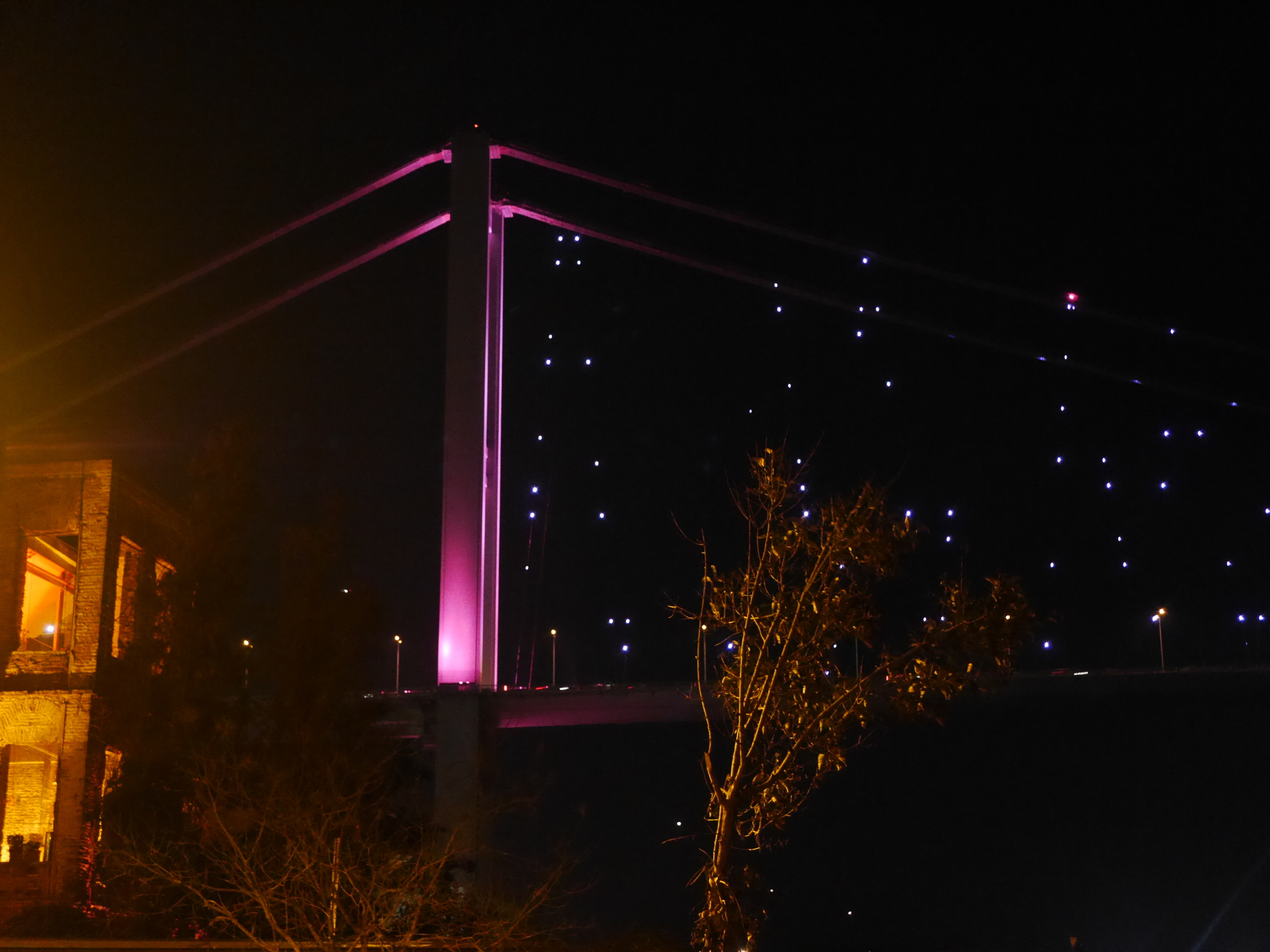 The Bosphorus Bridge (pleasantly lit up) at night.