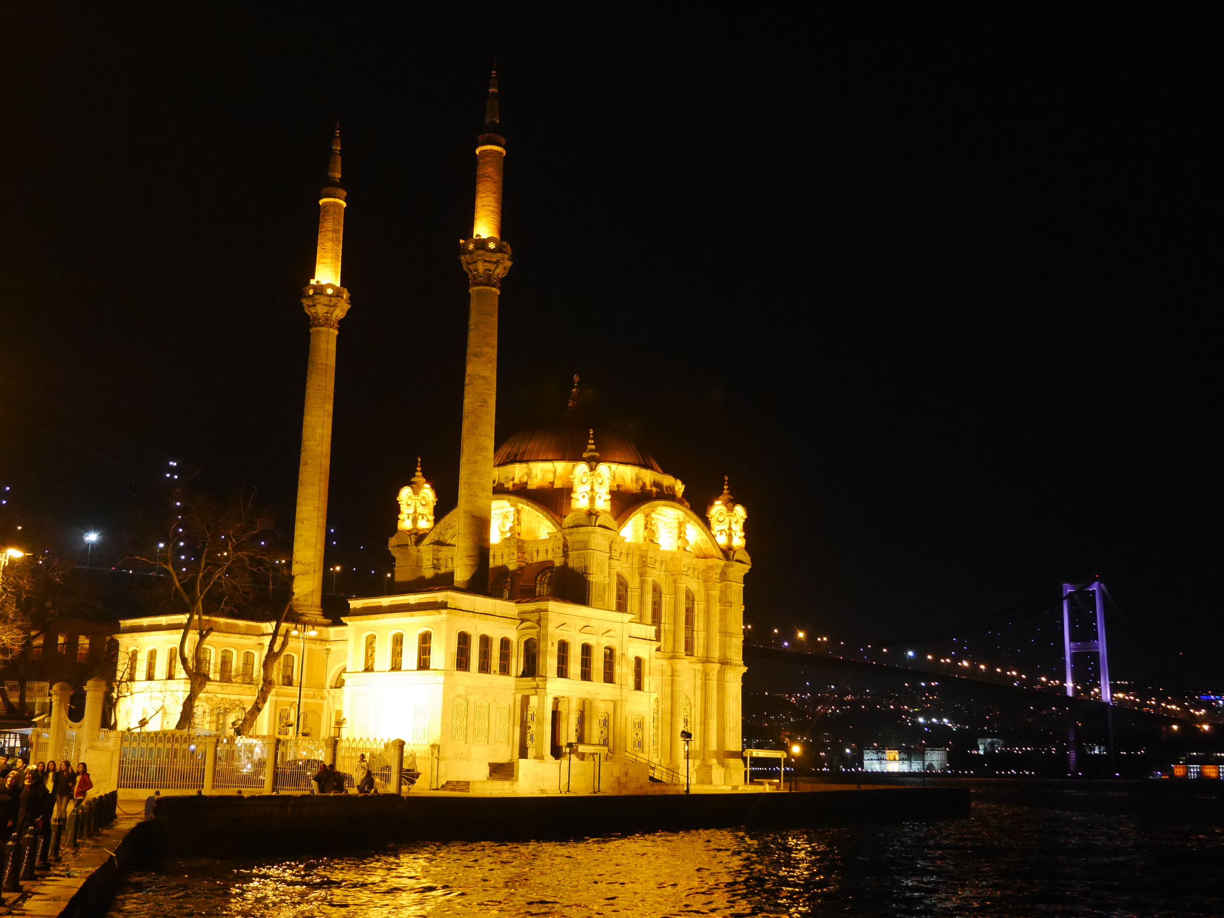 Another view of the Ortakoy Mosque and Bosphorus Bridge.