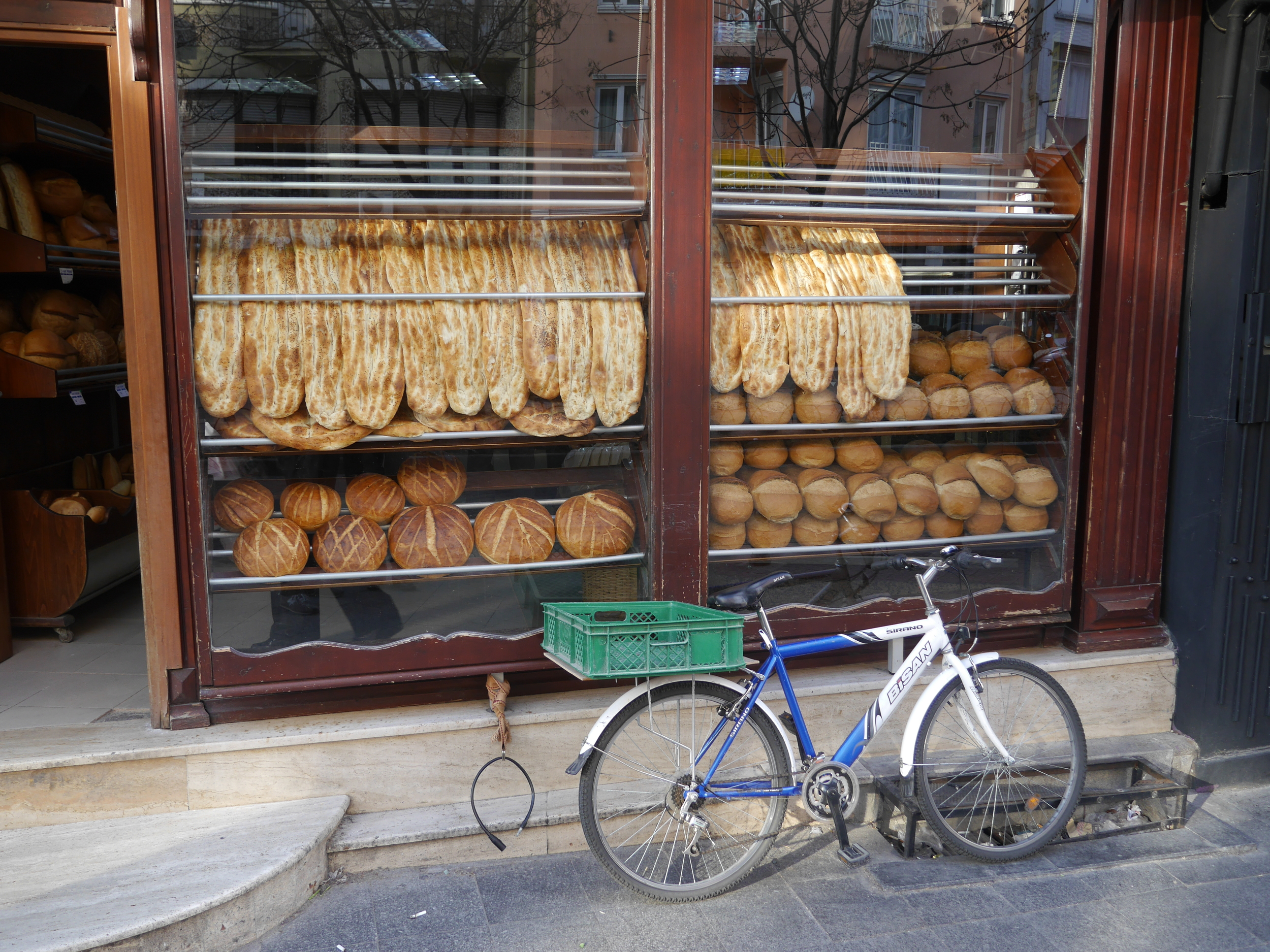 A bakery with obligatory bicycle.