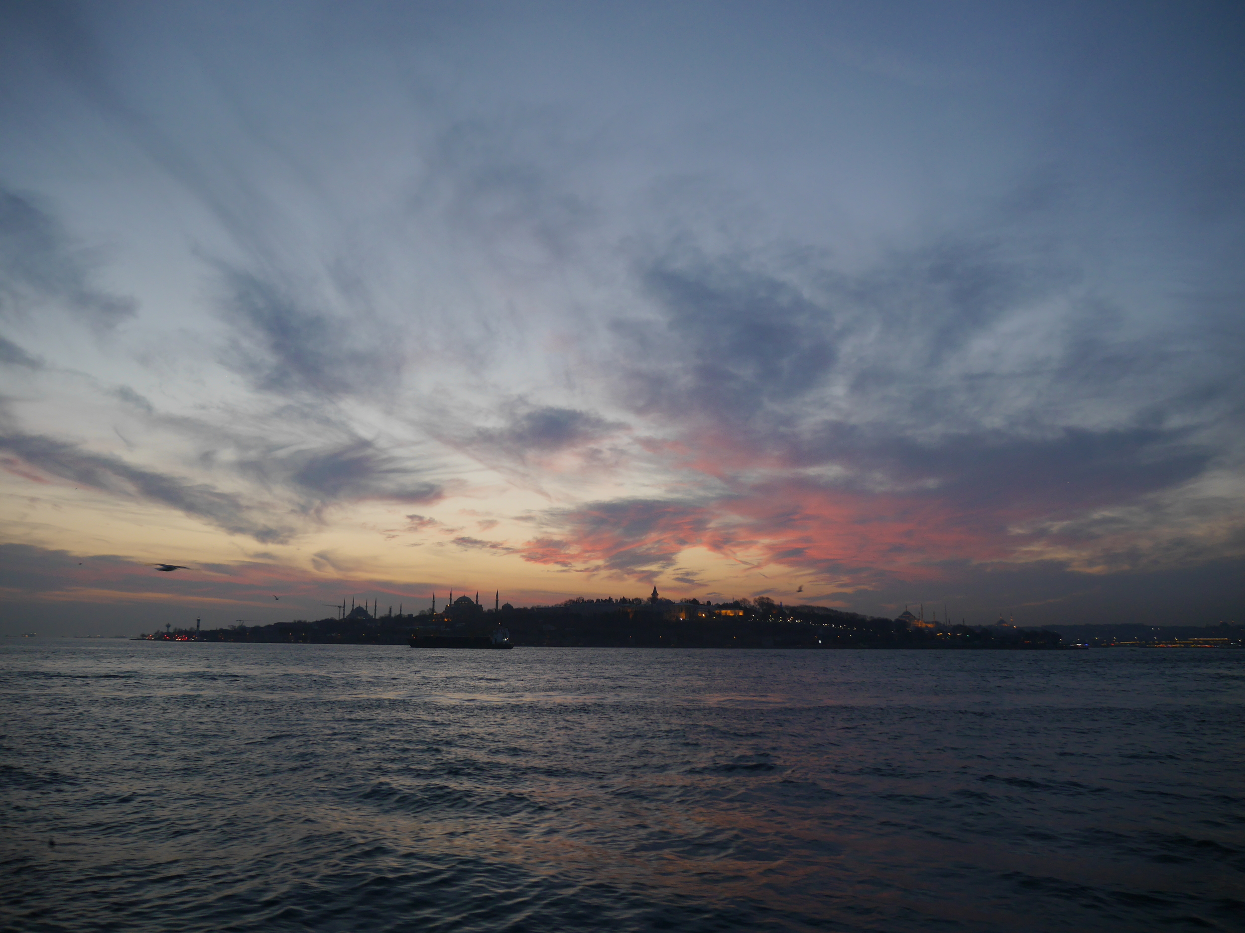 Sunset over the European side of Istanbul.