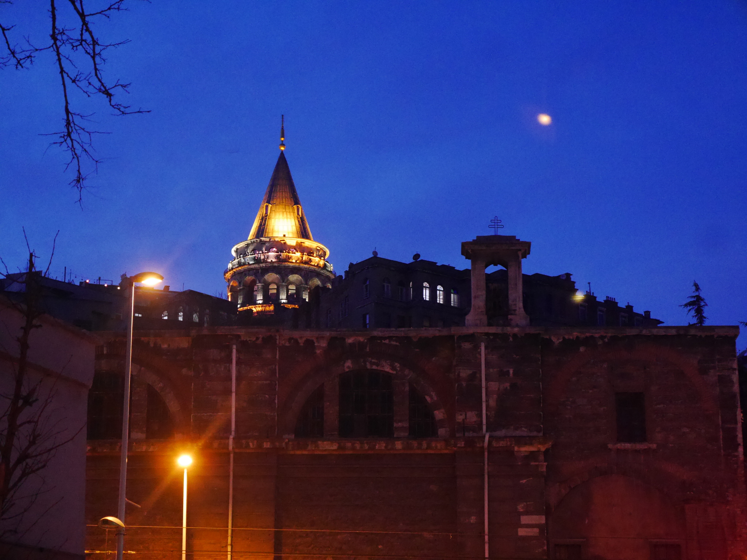 Galata Tower at night.