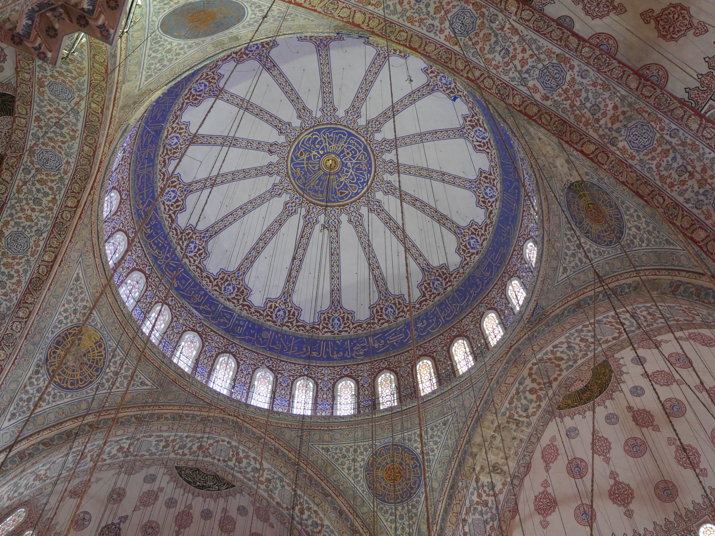 The ceiling inside the Blue Mosque. All the wires are for lighting. So many wires.