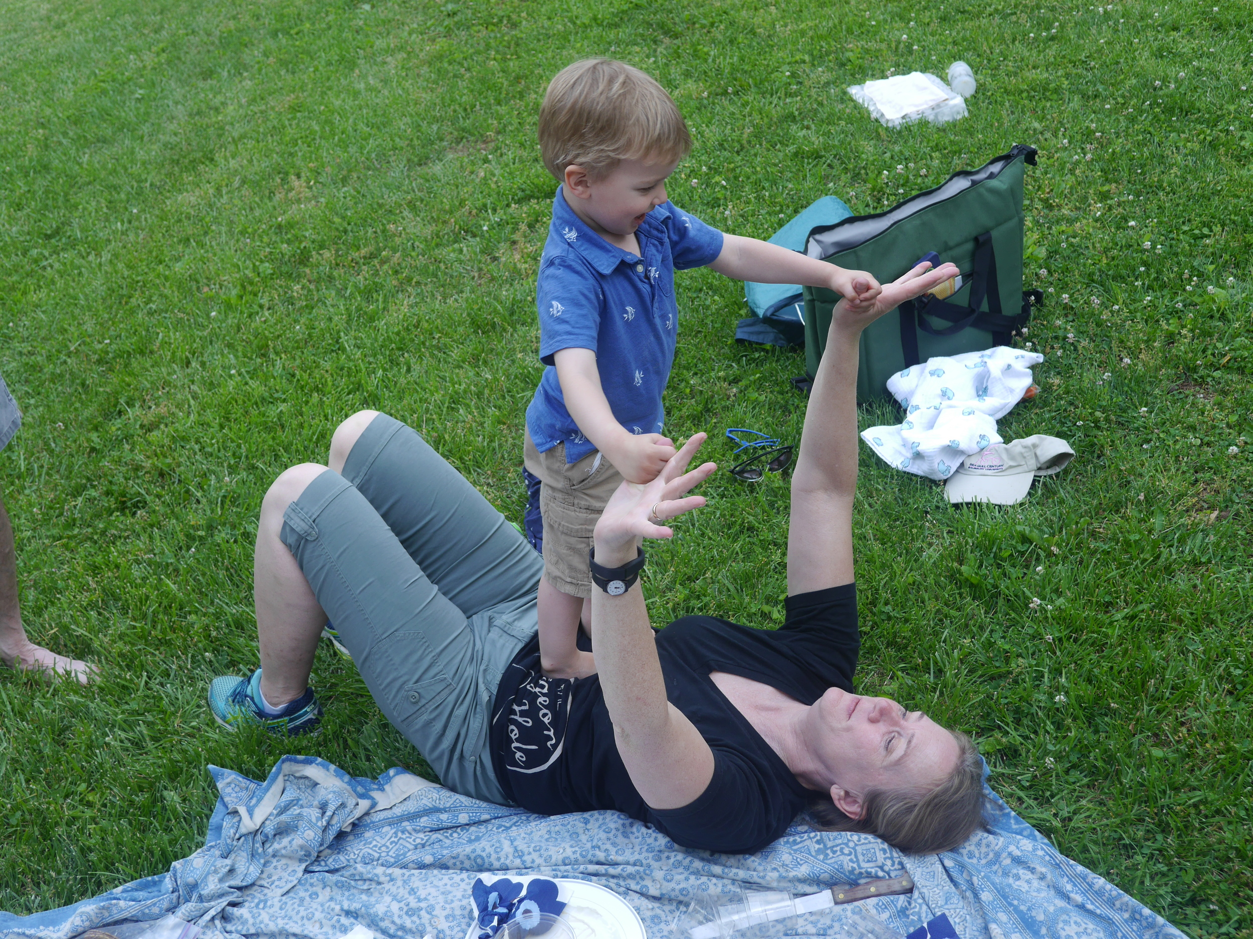 Sebastian gets a chance to play with mom.