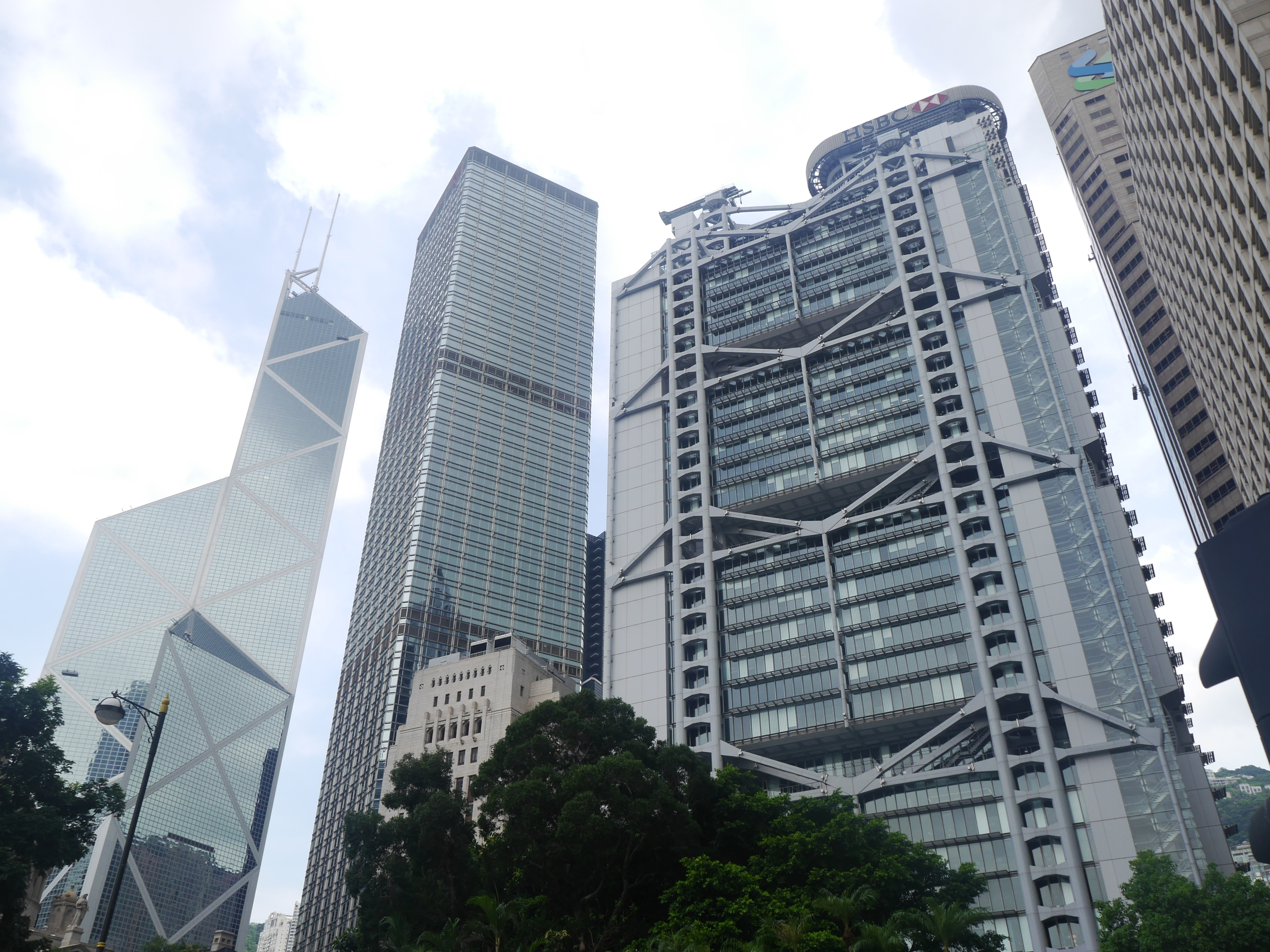 Two of the more famous buildings in Hong Kong. The  Bank of China Tower  on the left and the  HSBC Building  on the right.