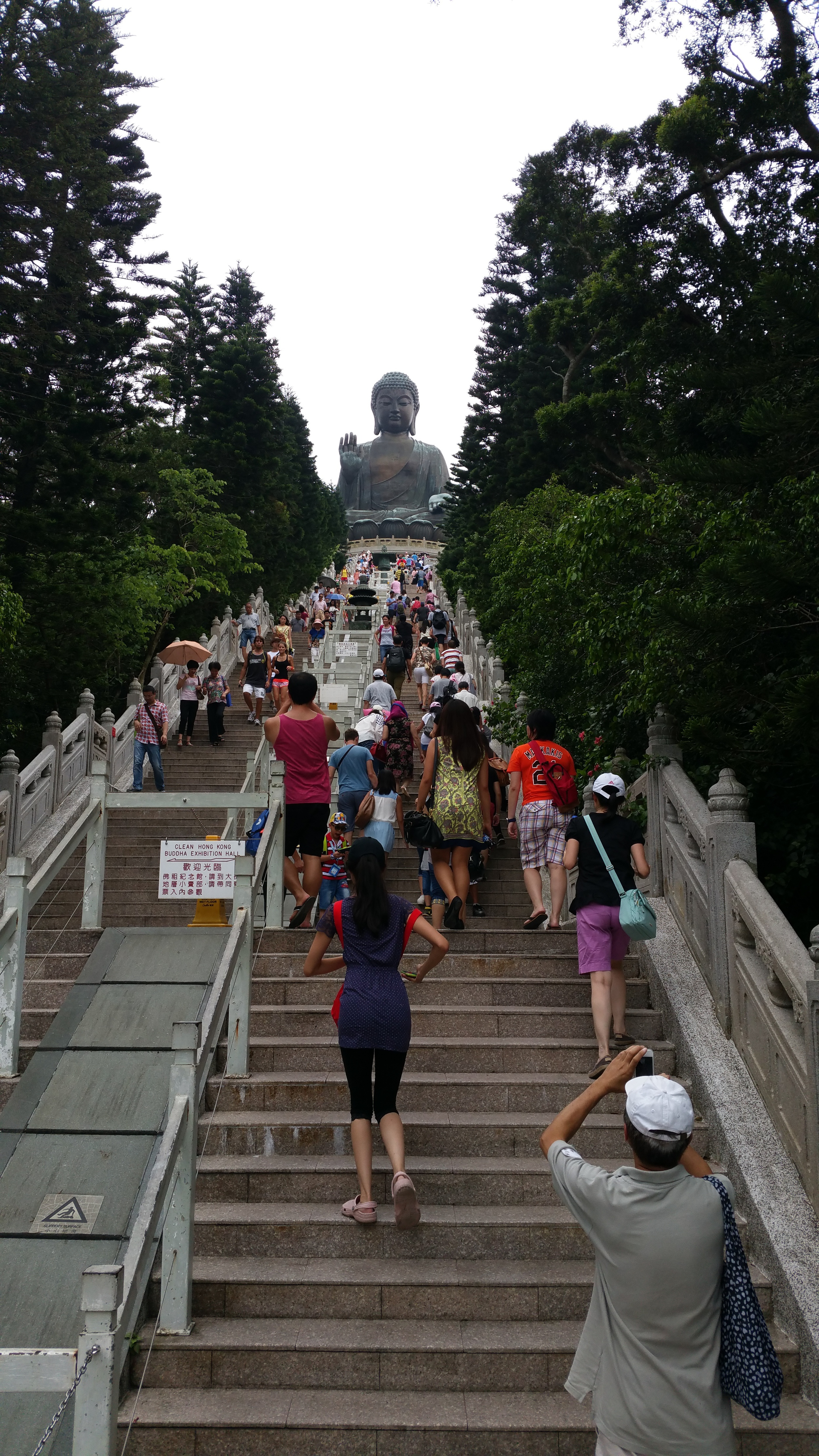 Stairs leading to the Buddha.