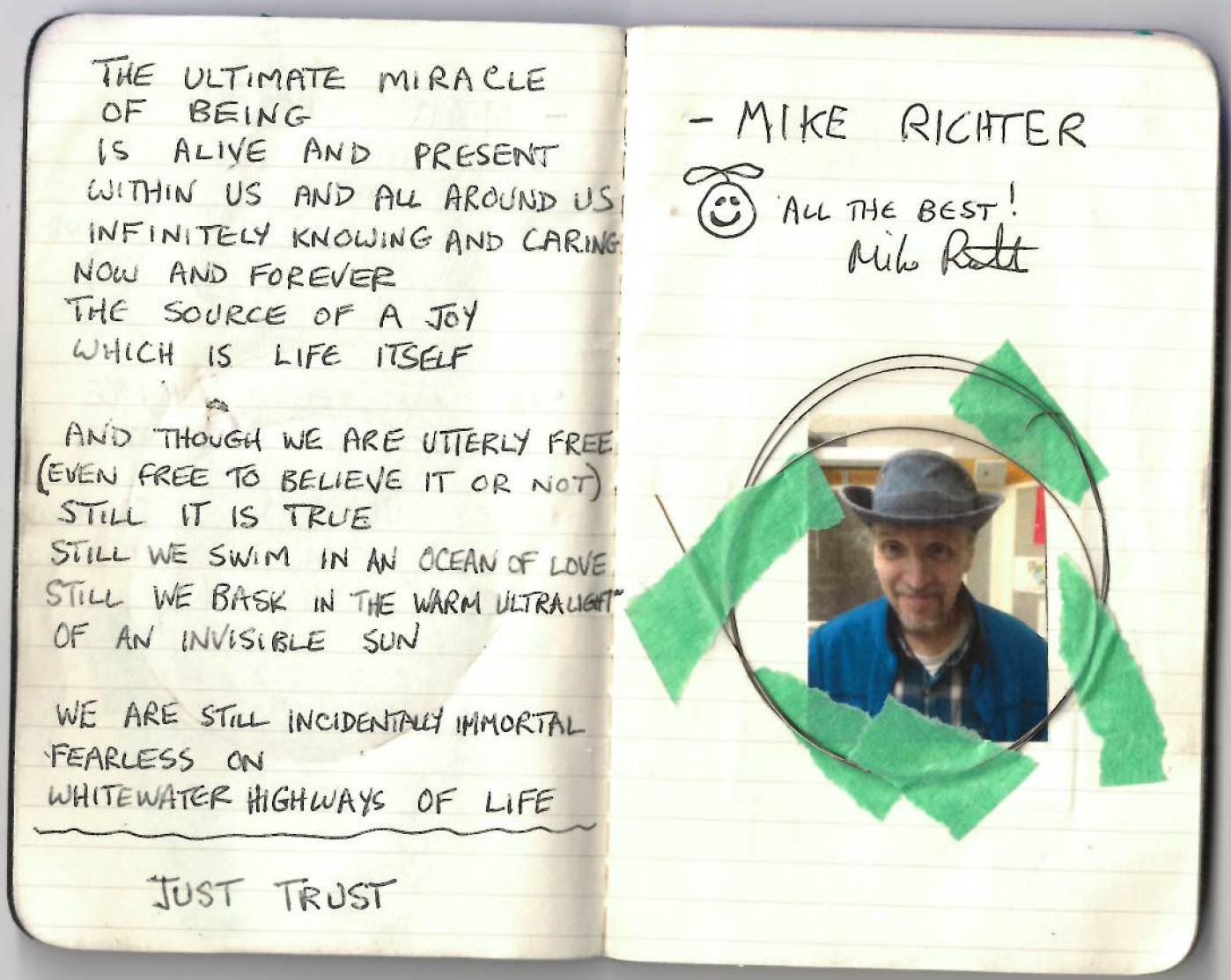 """Just Trust"", a poem by    Mike Richter   , musician and songwriter who will be starring in the feature documentary   ""V6A"""