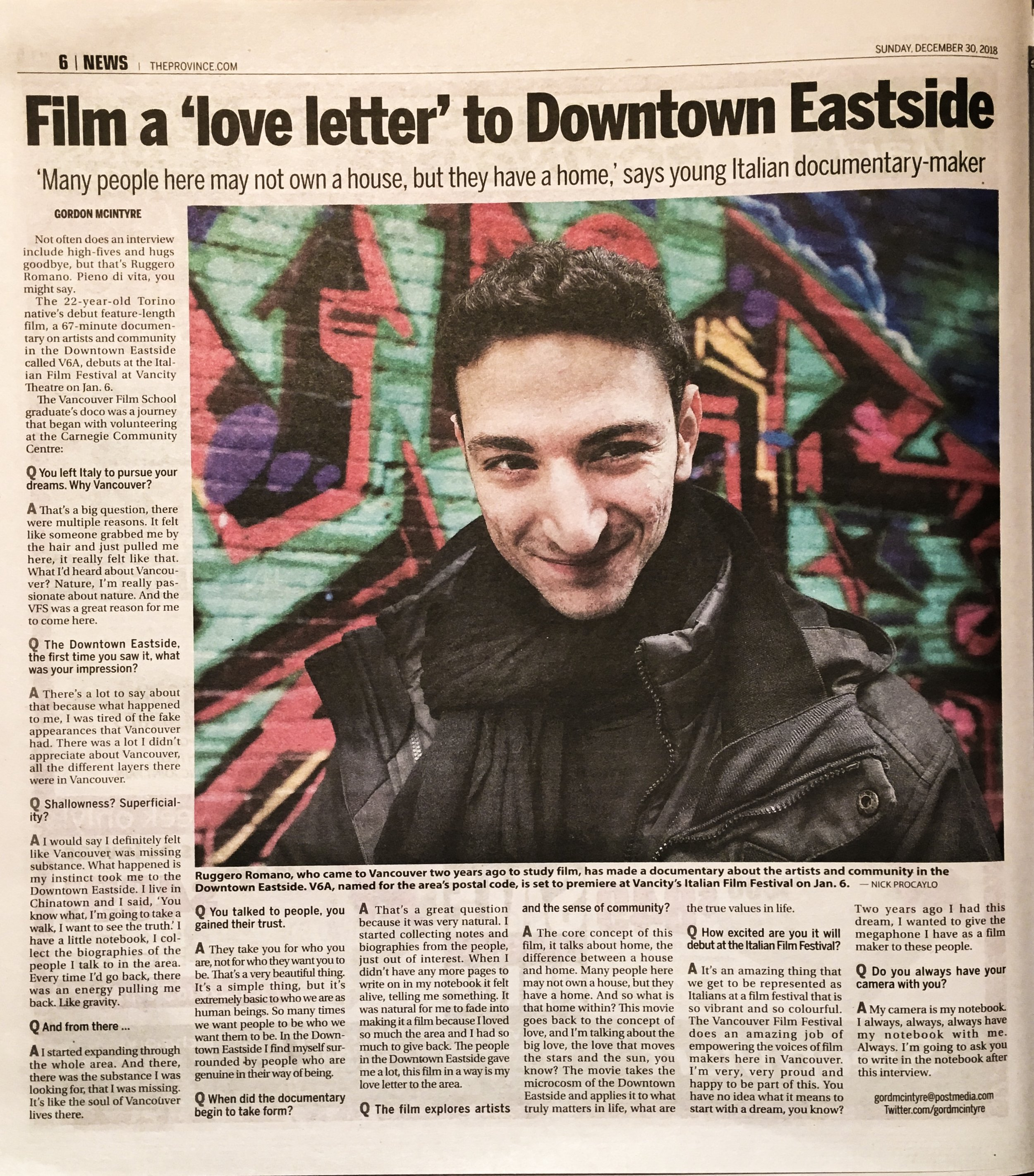 """Film a love letter to the downtown eastside"" -"
