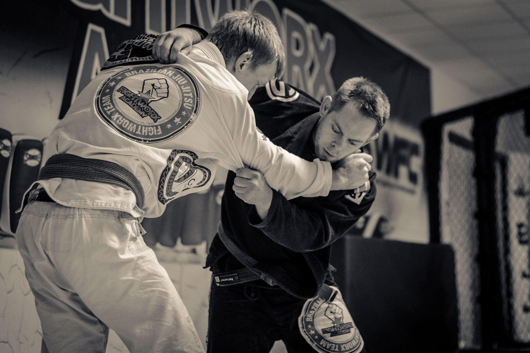 Head Instructor Darren Yeoman setting up the throw. BJJ covers stand up grappling techniques similar to Judo