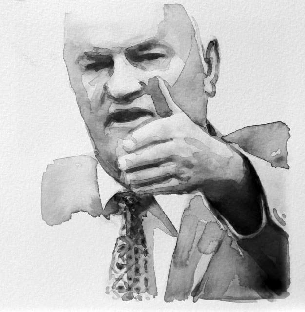 Radenko Milak, 2012, from  Body Language,  ink and watercolour pencil, 21.2 x 21 cm. General Ratko Mladic in the Hague war crimes tribunal (ICTY). From  http://radenko-milak.blogspot.com/
