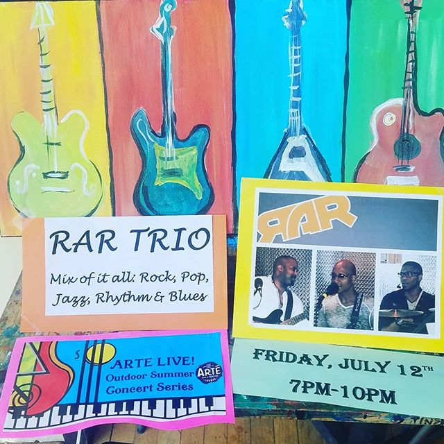 "Looking for something to do this Friday Night? Why not join us and RAR Trio for live music from  7:00 p.m - 10:00 p.m!! No cover charge!! . You can listen and drink on our lovely patio. . Or Join us for our ""Rock On!"" Funky Guitar class painting. (Sign up online!) . Or join us for Open Canvas and choose from a variety of paintings! . #livemusic #music guitar #guitarpainting #paintbar #wineandpaint #wine #wauwatosa #girlsnight #tosa #tosavillage #group #goodmusic #freemusic #fridaynight #rockon #rock #pop #jazz #r&b #supportlocal #localartist #local"