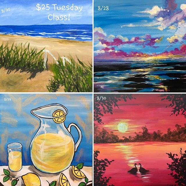 Looking for a mini summer escape during the weekday? Come join us for one of these summer fun class paintings! Sign up online today! ... Wanna do your own thing? Join us for open canvas! #arte #art #paintbar #wineandpaint #wine #wauwatosa #girlsnight #familyfun #fun #datenight #tosa #paintclass #supportlocal #tosavillage #color #tuesday #painting #weekday #summer