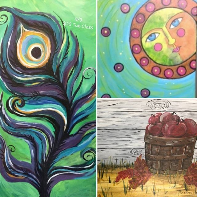 Happy September! Come celebrate with us this week with these fun class paintings! Reserve your spot at artewineandpaint.com now. ... Tonight' class: is $25 Tue ... Saturday is our $25 Family Class  #arte #art #paintbar #wineandpaint #wine #wauwatosa #girlsnight #familyfun #fun #datenight #celebrate #september #endofsummer #falliscoming