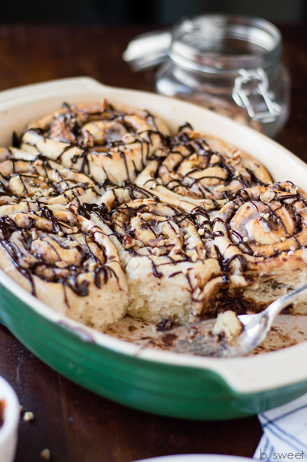 Chocolate Pecan Cinnamon Rolls - b. sweet