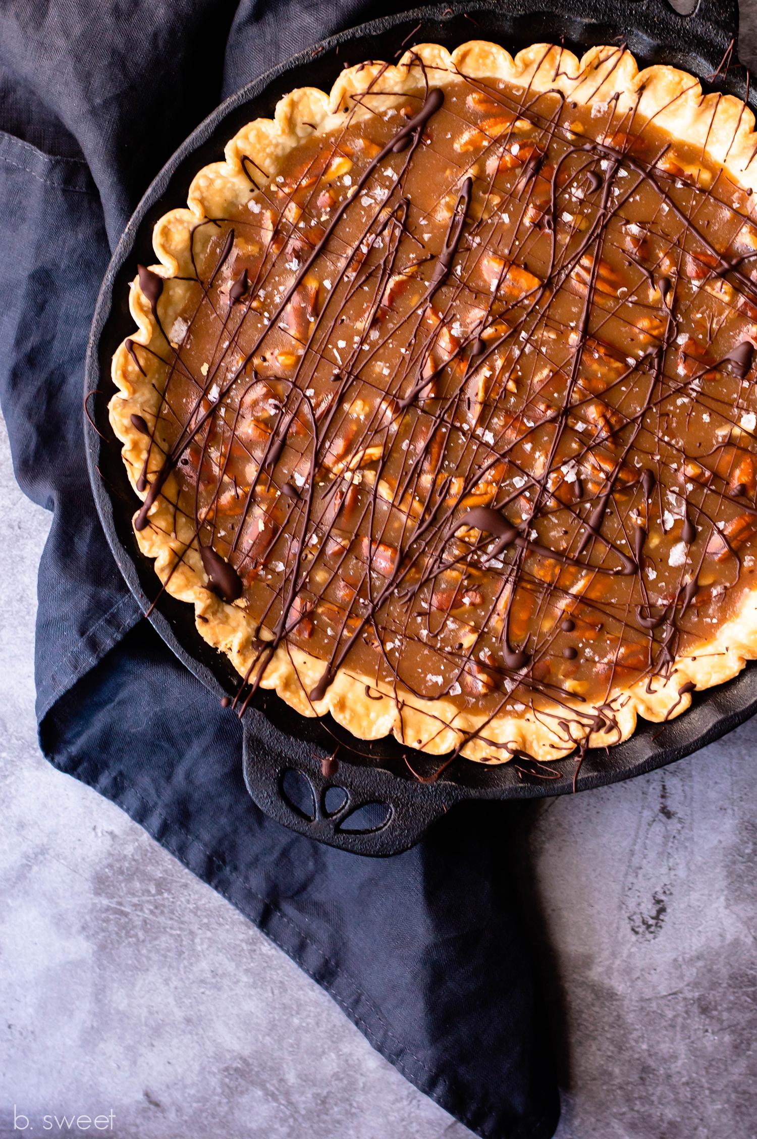 Salted Pecan Whiskey Caramel Fudge Pie - b. sweet