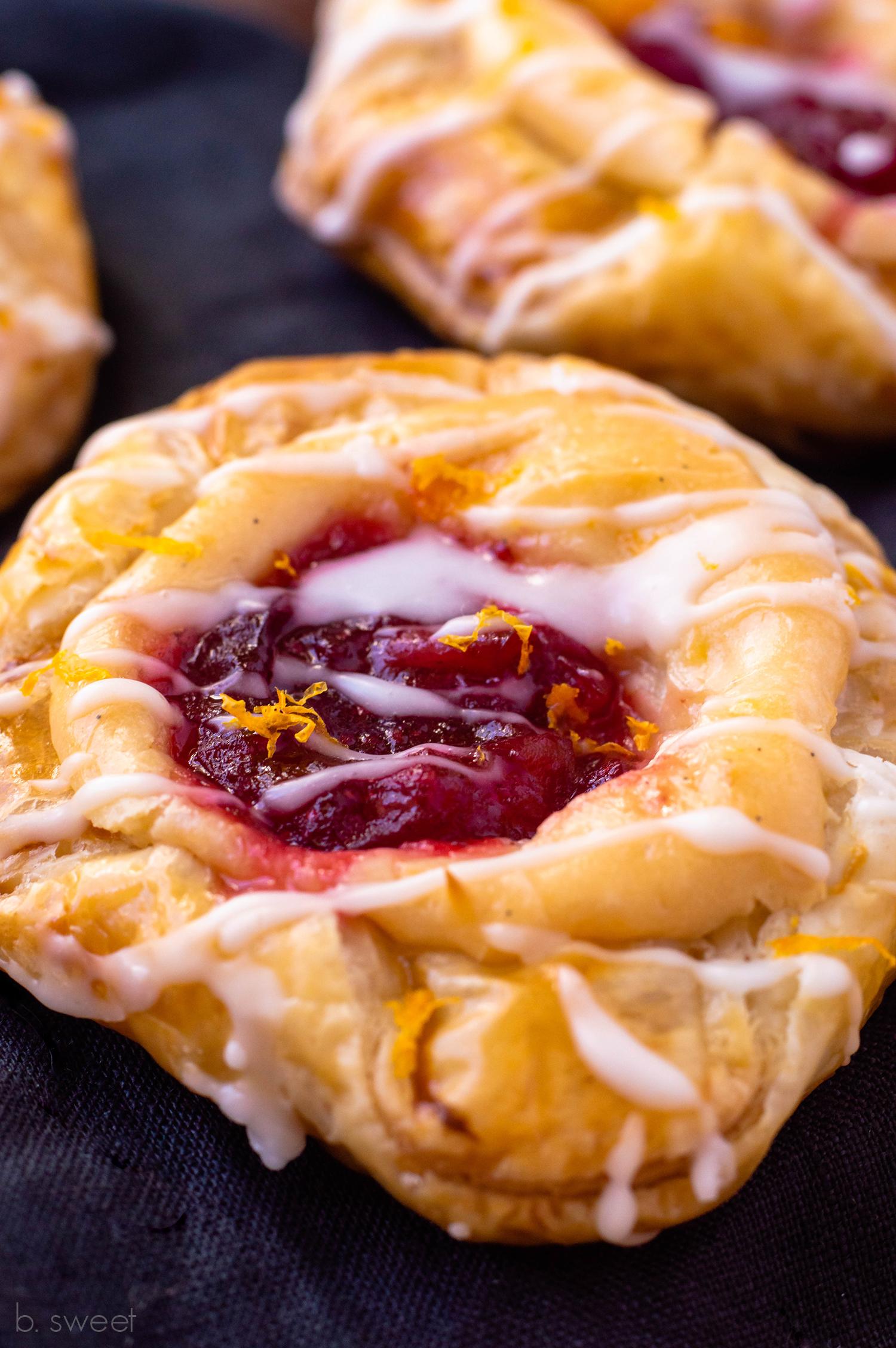 Honey Orange Cranberry Cream Cheese Danish - b. sweet
