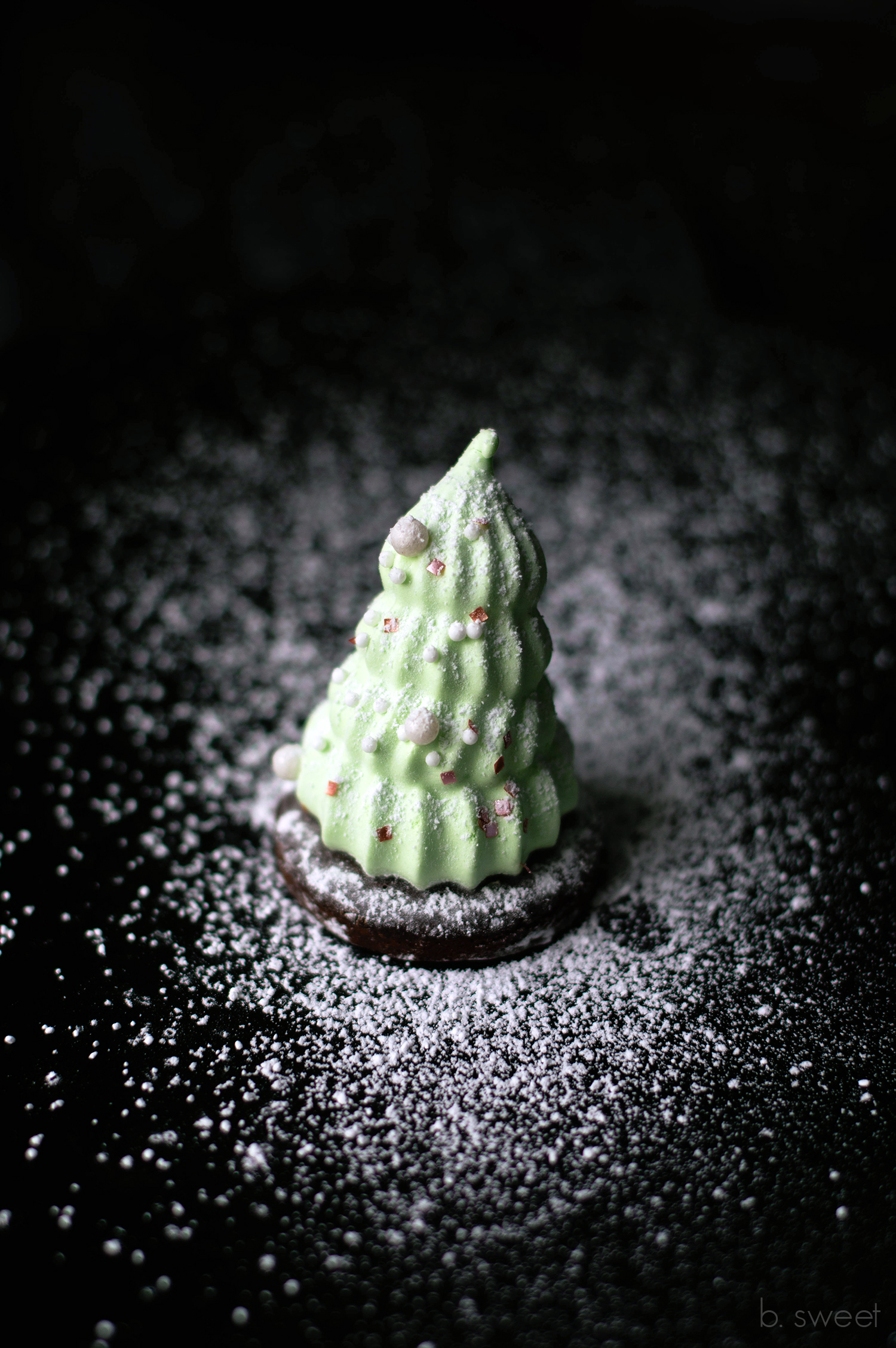 Mint Chocolate Marshmallow Christmas Tree Cookies- - b. sweet
