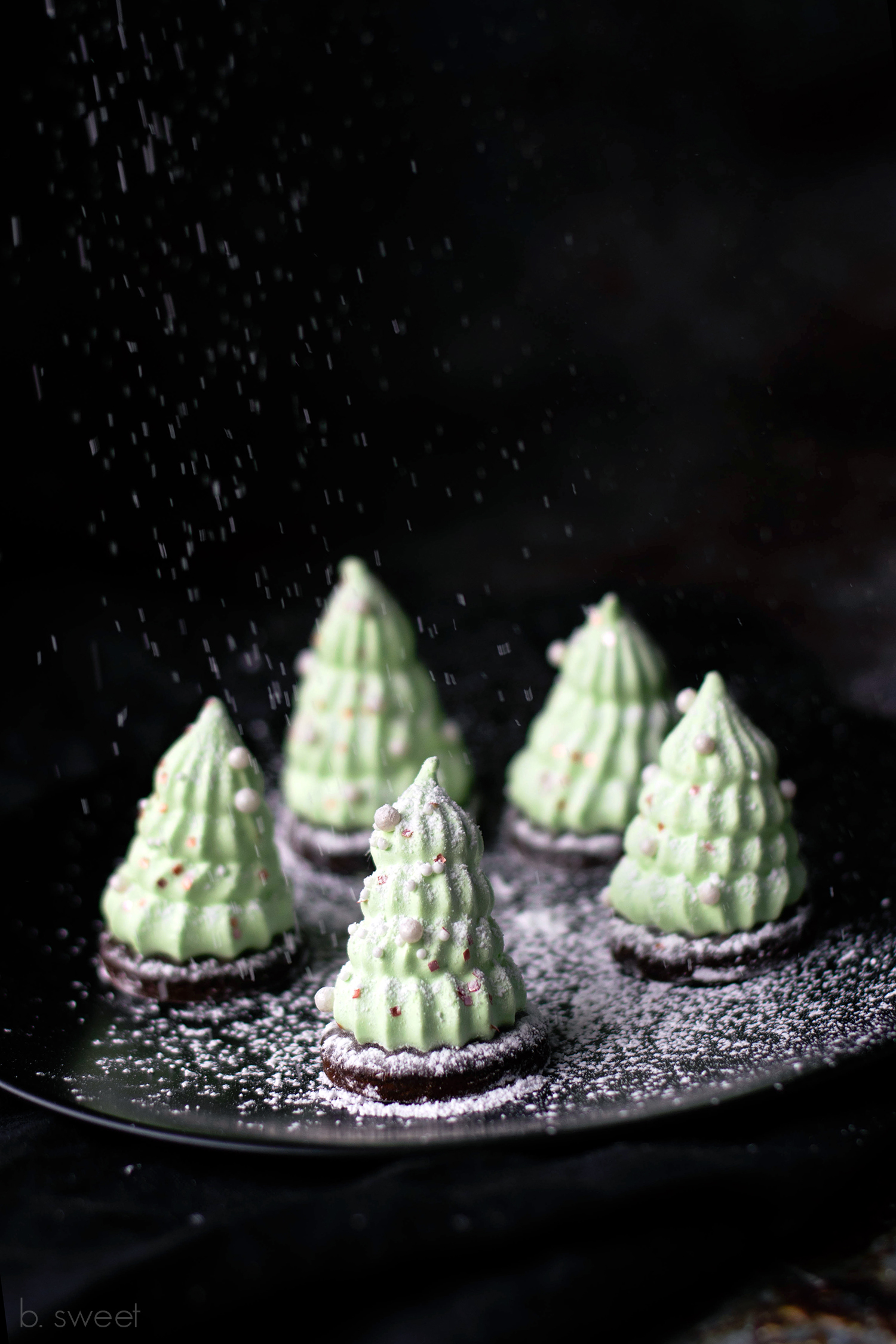 Mint Chocolate Marshmallow Christmas Tree Cookies - b. sweet