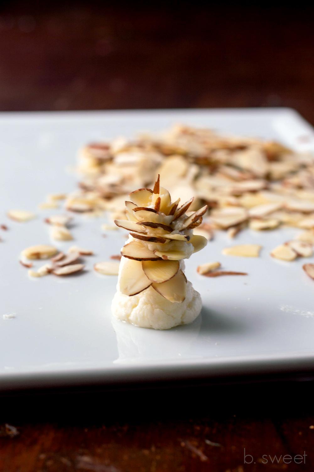Winter White Yule Log - almond slice pinecones - b. sweet